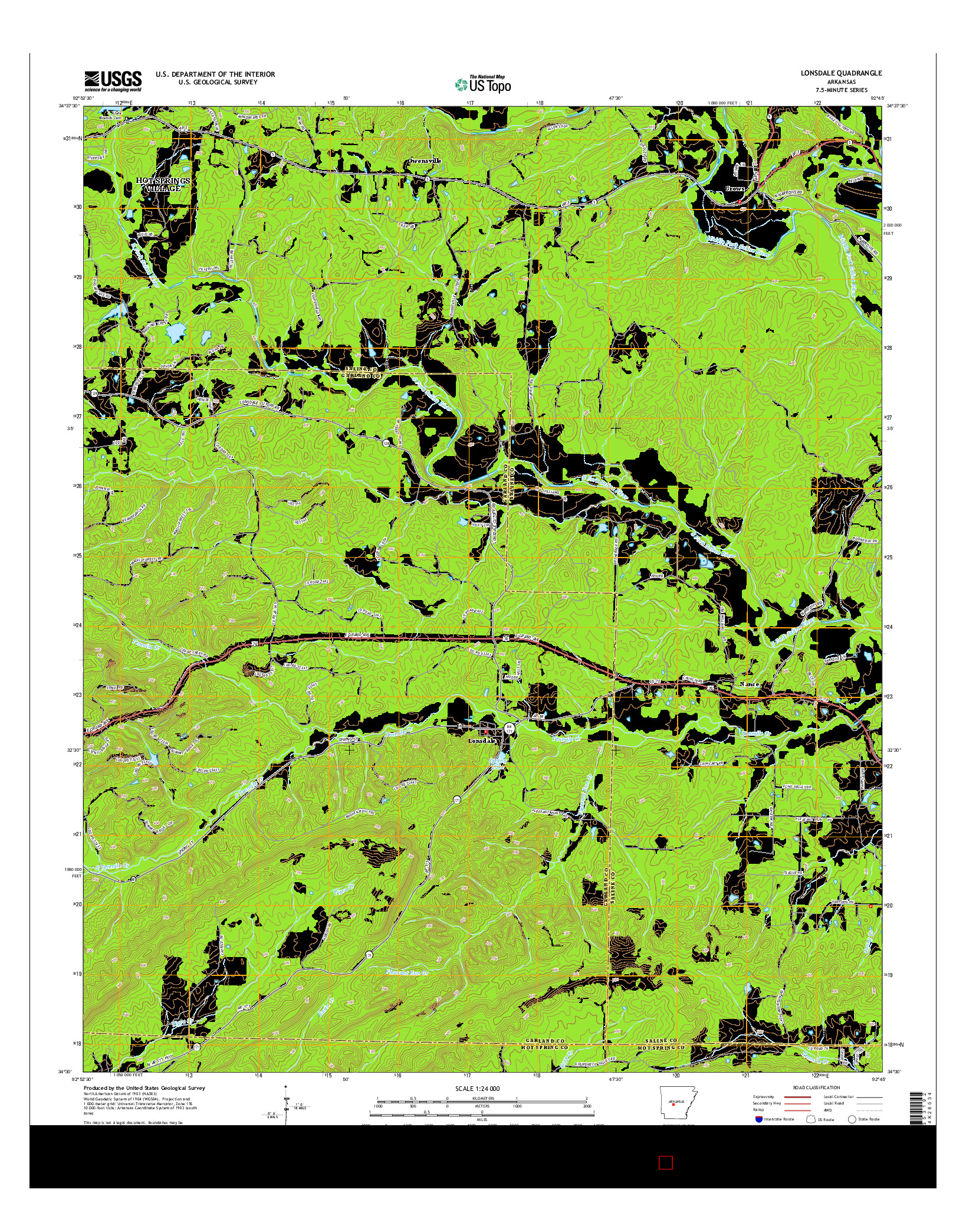 USGS US TOPO 7.5-MINUTE MAP FOR LONSDALE, AR 2014