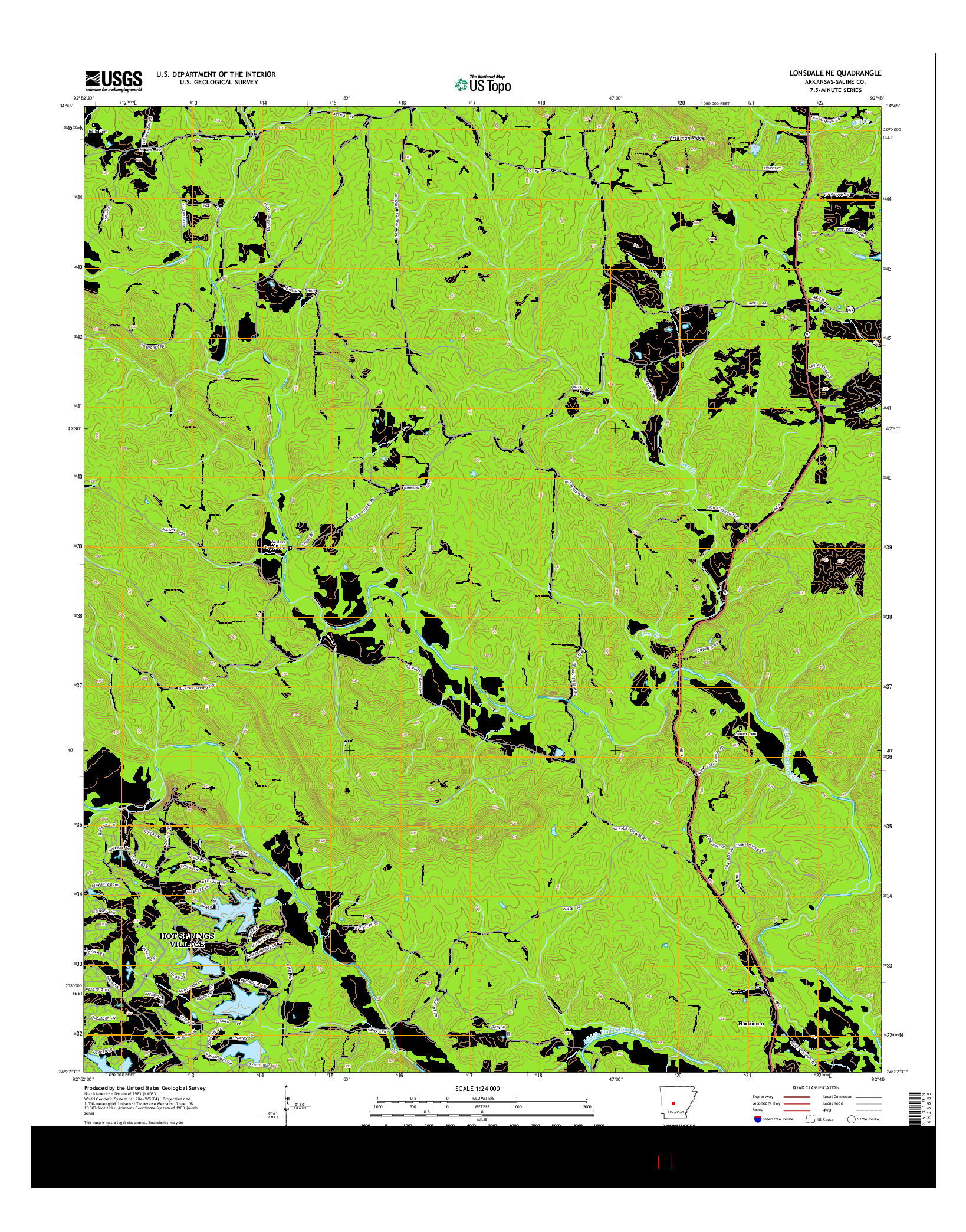 USGS US TOPO 7.5-MINUTE MAP FOR LONSDALE NE, AR 2014