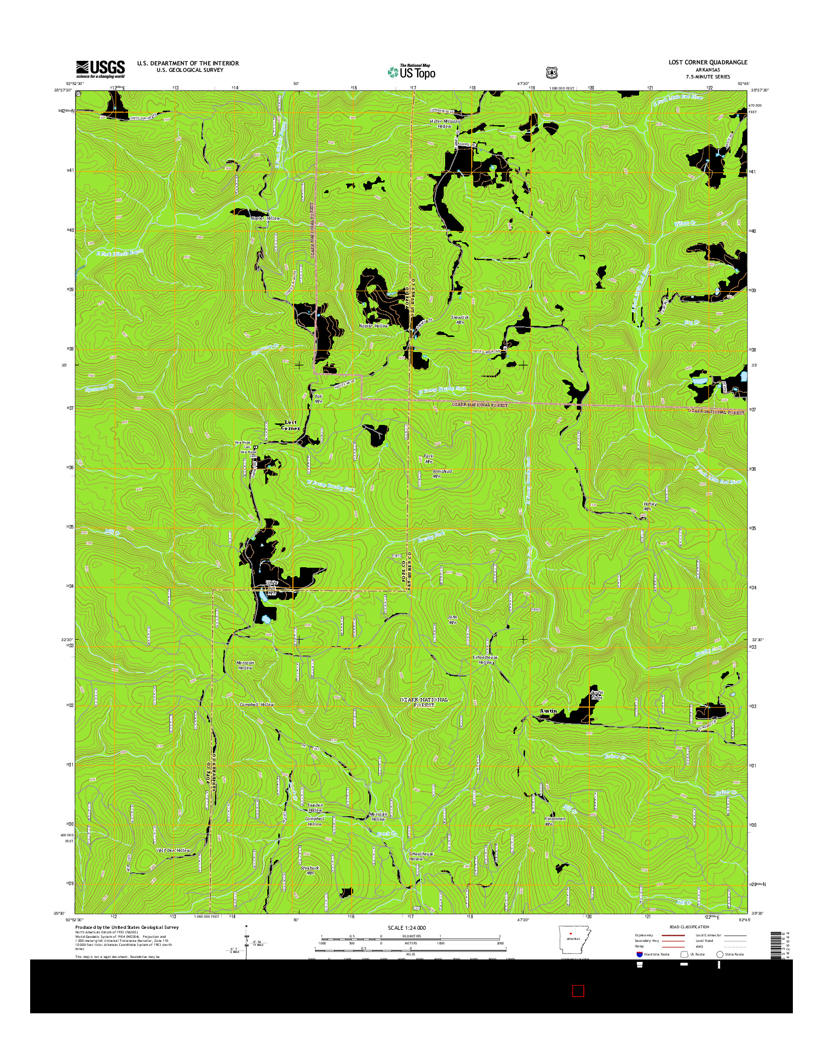 USGS US TOPO 7.5-MINUTE MAP FOR LOST CORNER, AR 2014