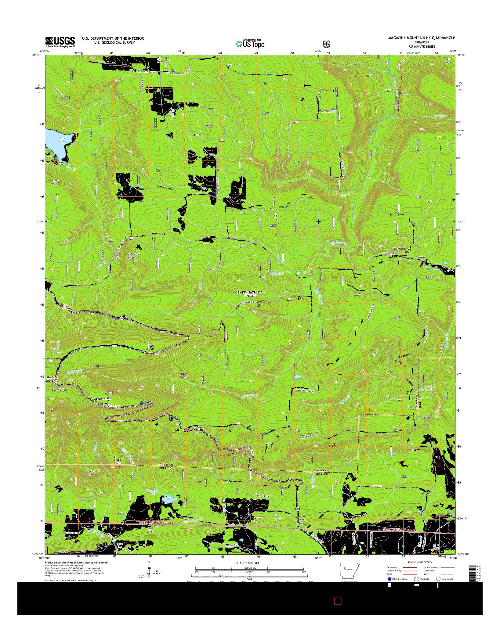 USGS US TOPO 7.5-MINUTE MAP FOR MAGAZINE MOUNTAIN NE, AR 2014