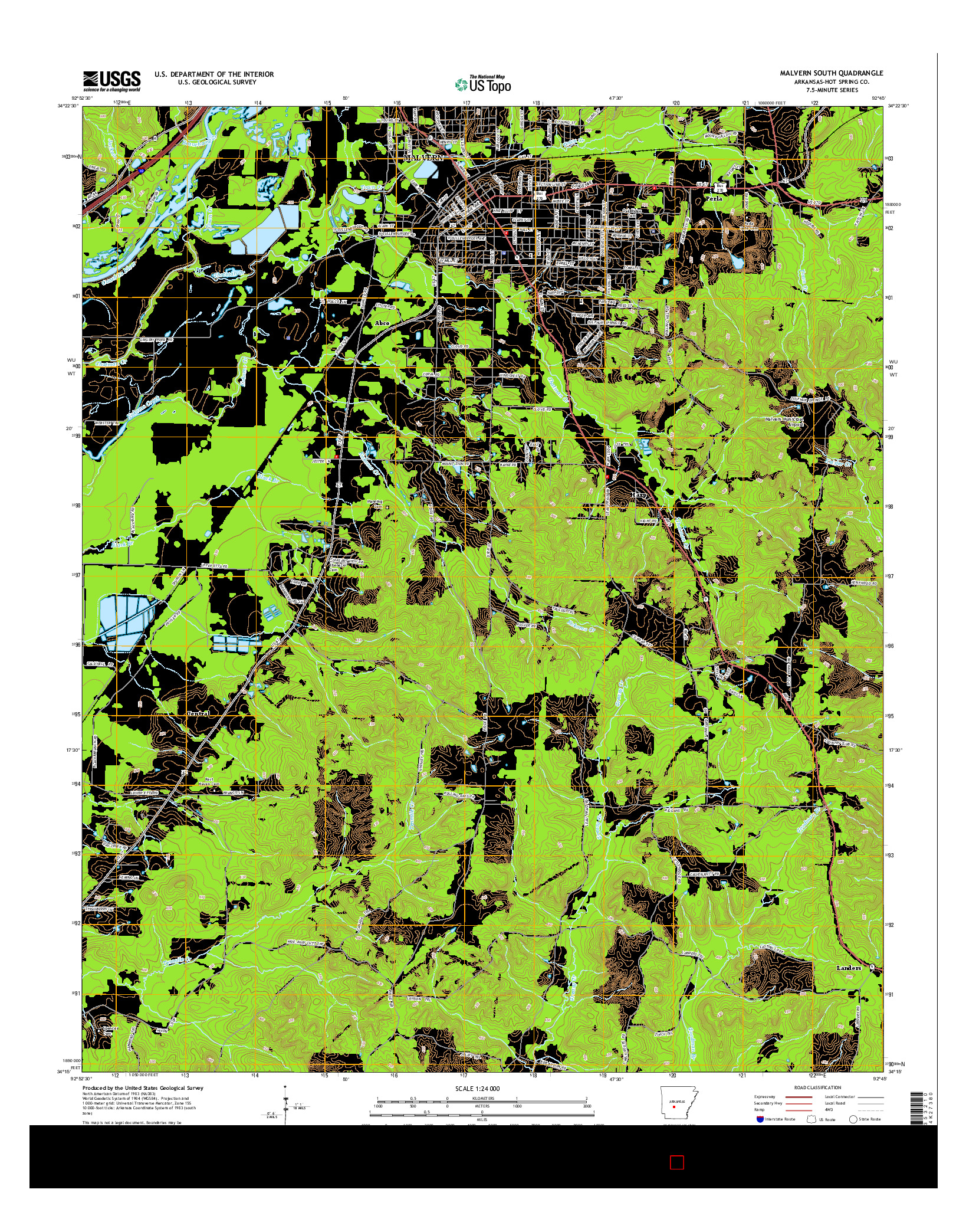 USGS US TOPO 7.5-MINUTE MAP FOR MALVERN SOUTH, AR 2014