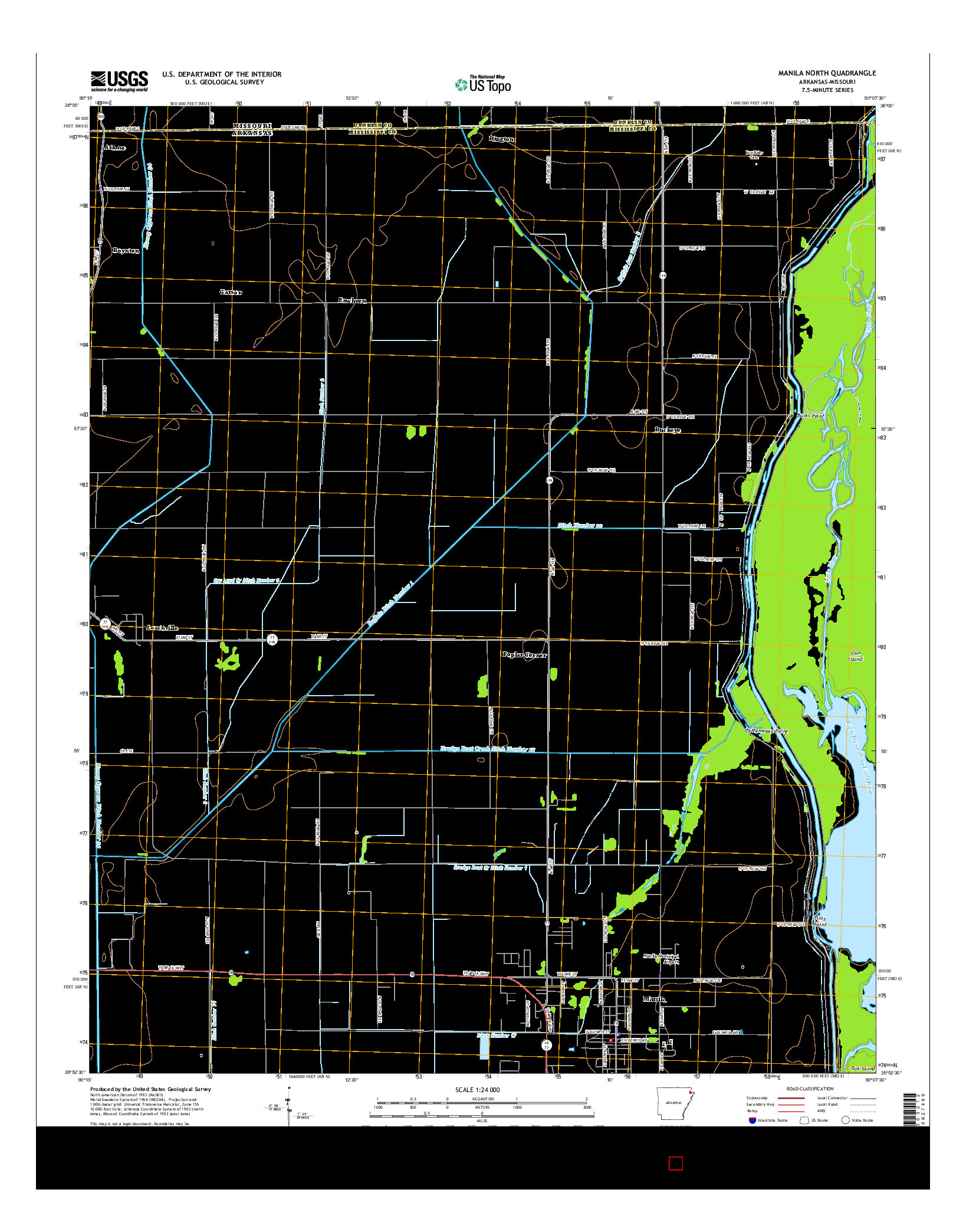 USGS US TOPO 7.5-MINUTE MAP FOR MANILA NORTH, AR-MO 2014
