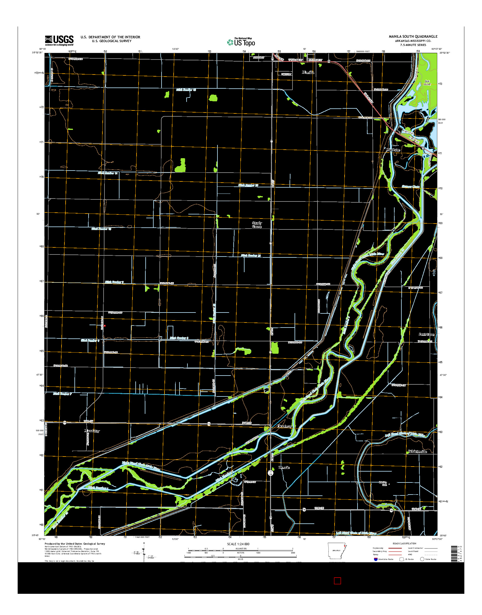 USGS US TOPO 7.5-MINUTE MAP FOR MANILA SOUTH, AR 2014