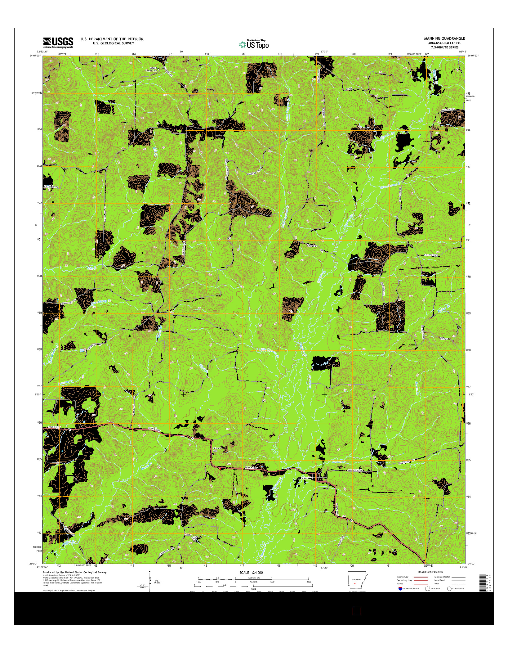 USGS US TOPO 7.5-MINUTE MAP FOR MANNING, AR 2014