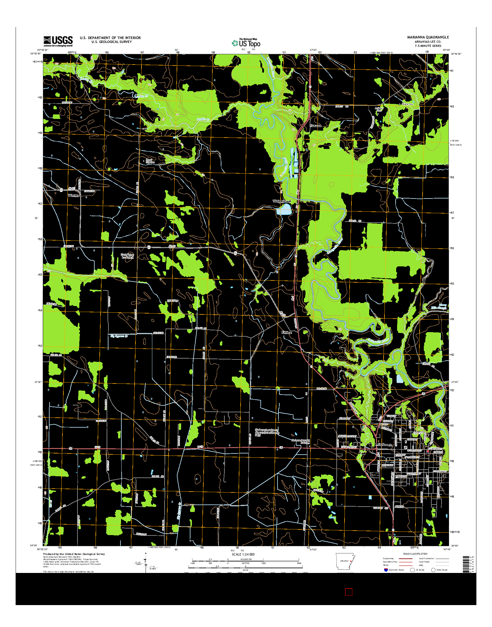 USGS US TOPO 7.5-MINUTE MAP FOR MARIANNA, AR 2014