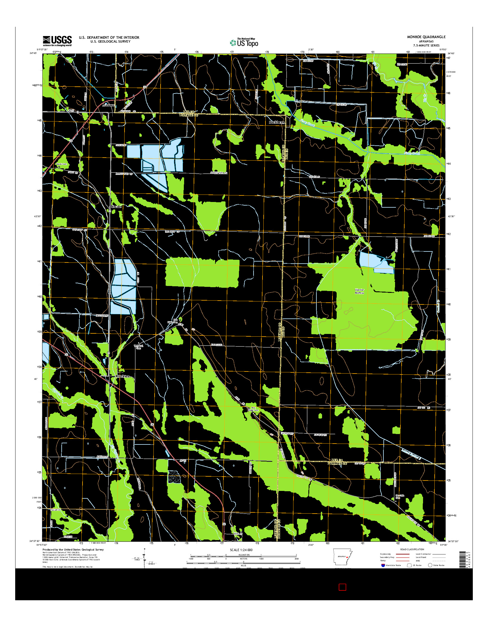 USGS US TOPO 7.5-MINUTE MAP FOR MONROE, AR 2014