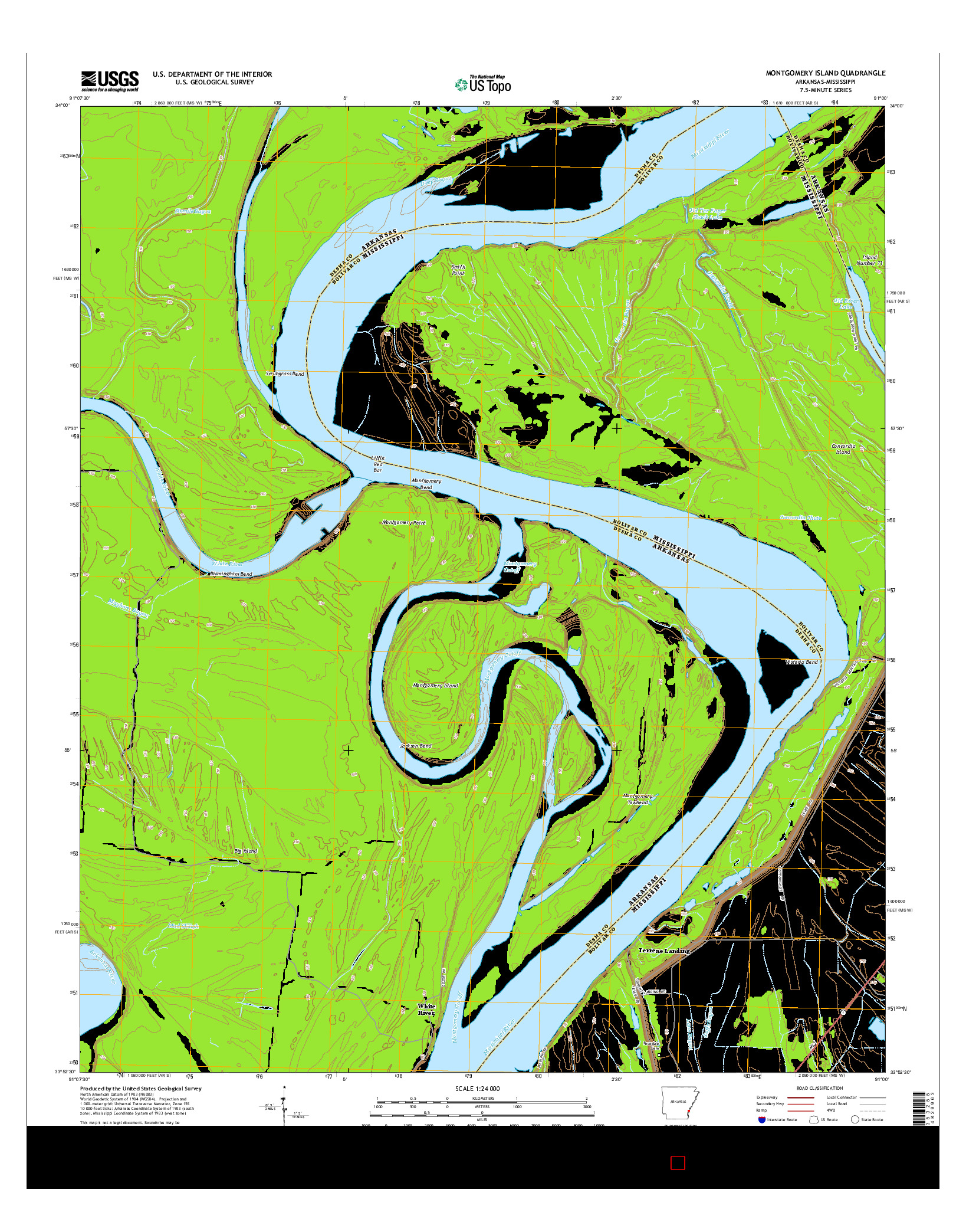USGS US TOPO 7.5-MINUTE MAP FOR MONTGOMERY ISLAND, AR-MS 2014