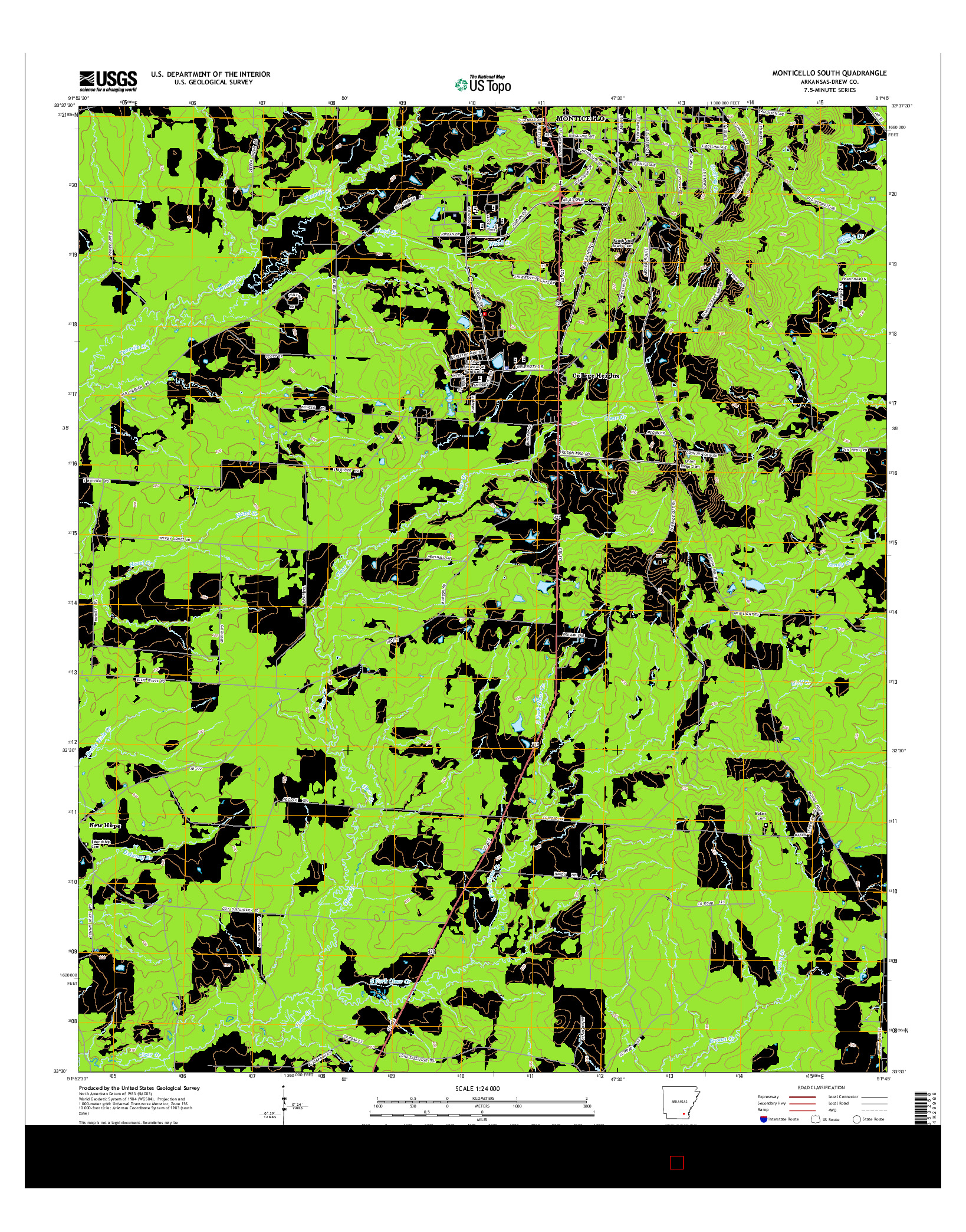 USGS US TOPO 7.5-MINUTE MAP FOR MONTICELLO SOUTH, AR 2014