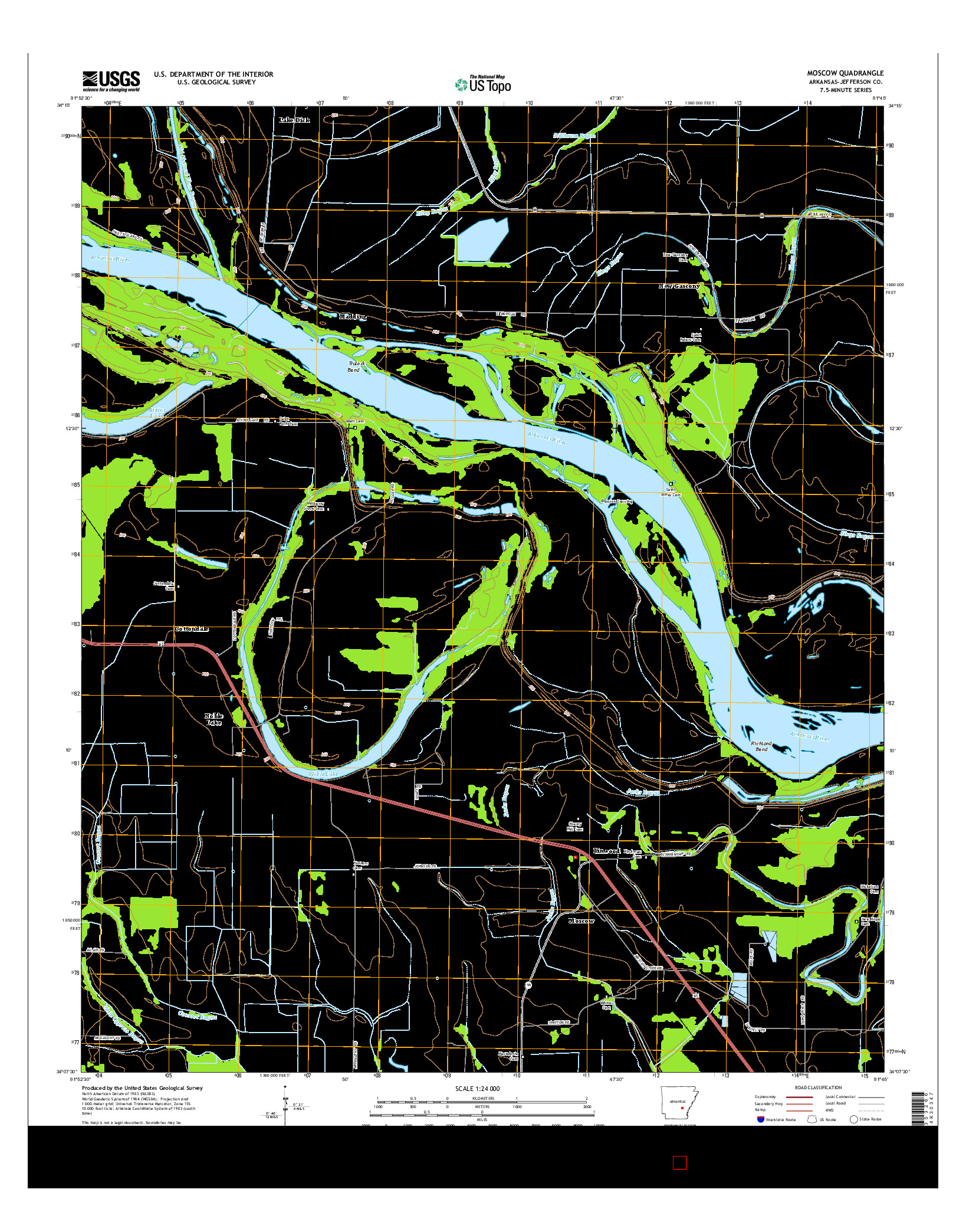 USGS US TOPO 7.5-MINUTE MAP FOR MOSCOW, AR 2014