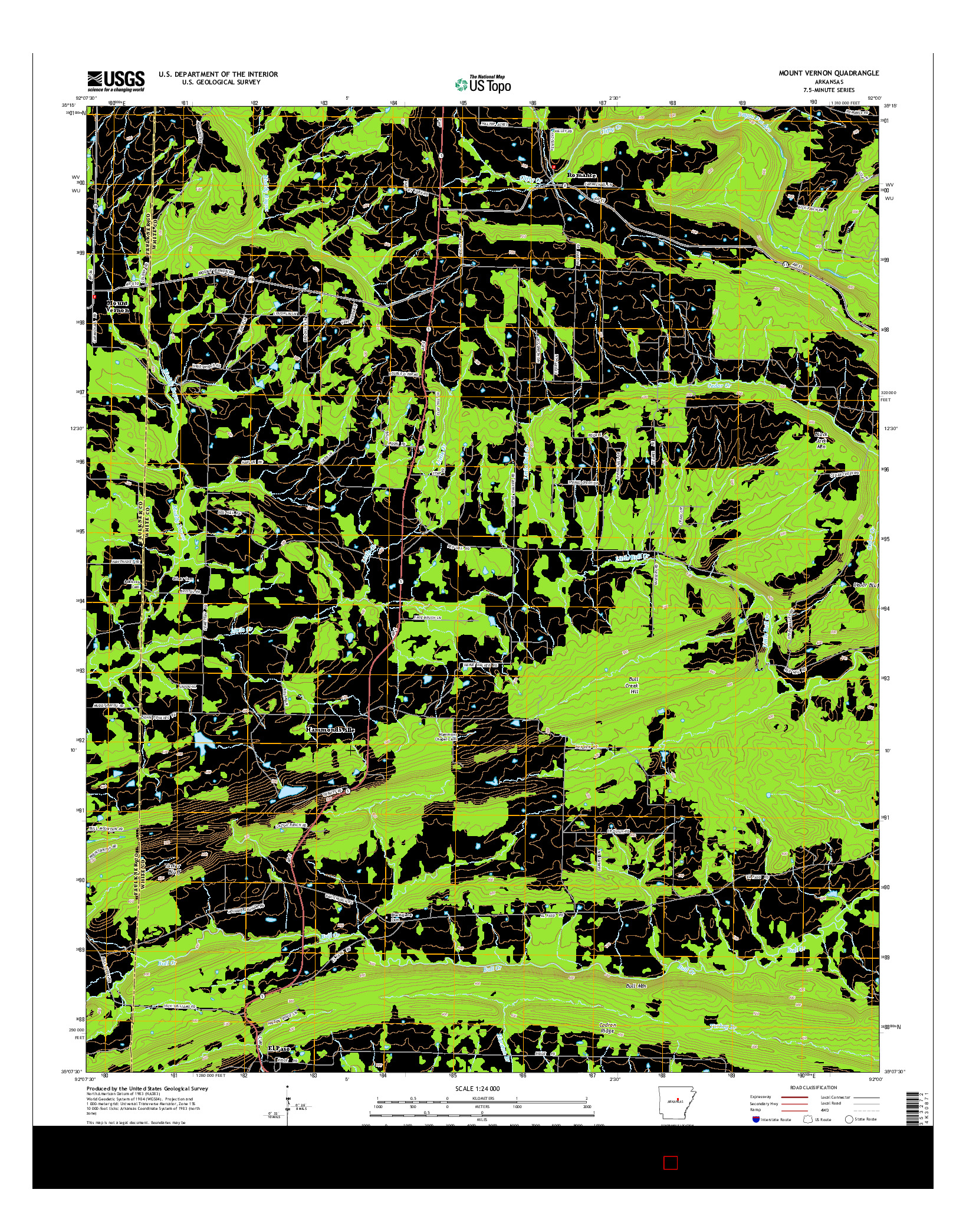 USGS US TOPO 7.5-MINUTE MAP FOR MOUNT VERNON, AR 2014
