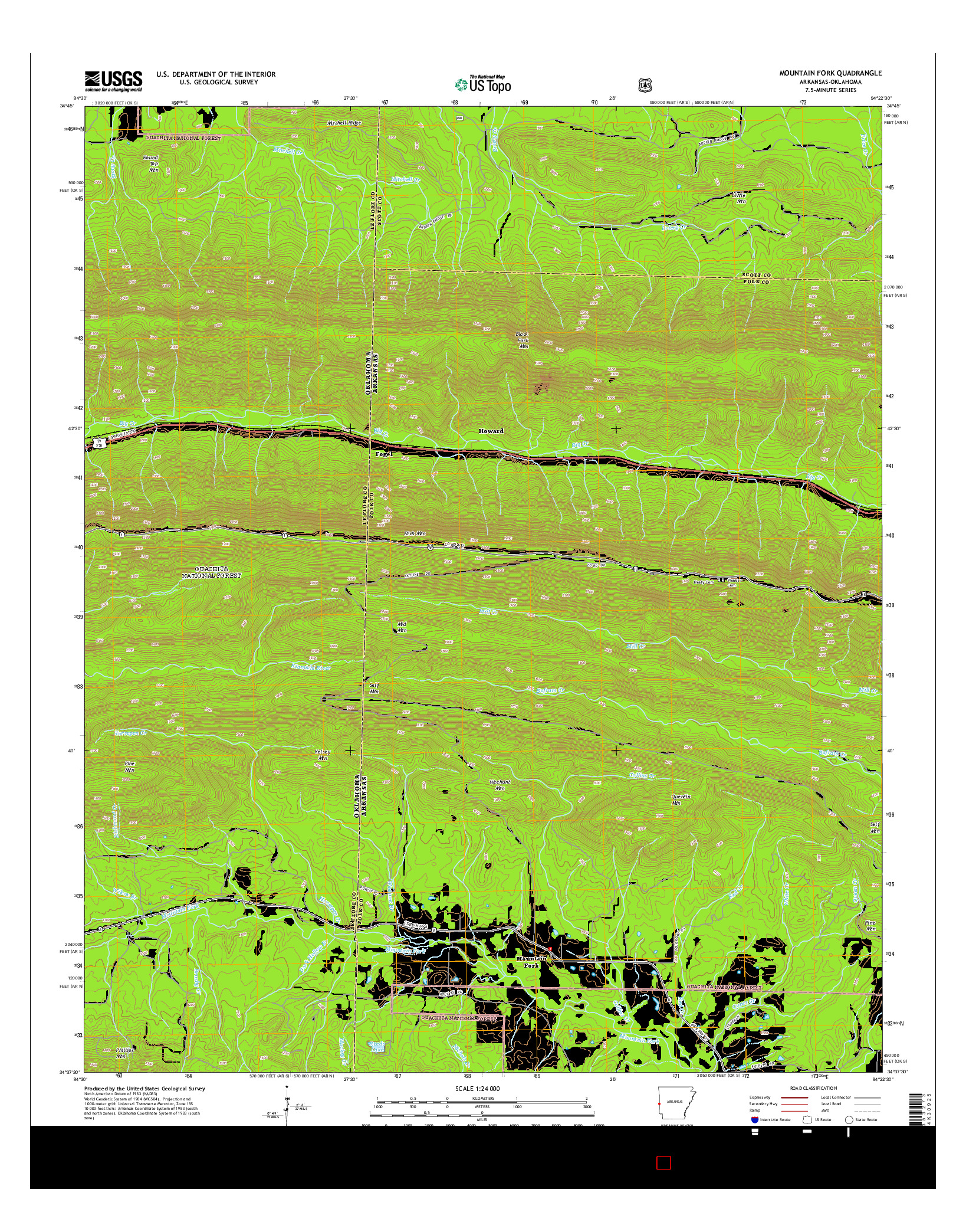 USGS US TOPO 7.5-MINUTE MAP FOR MOUNTAIN FORK, AR-OK 2014