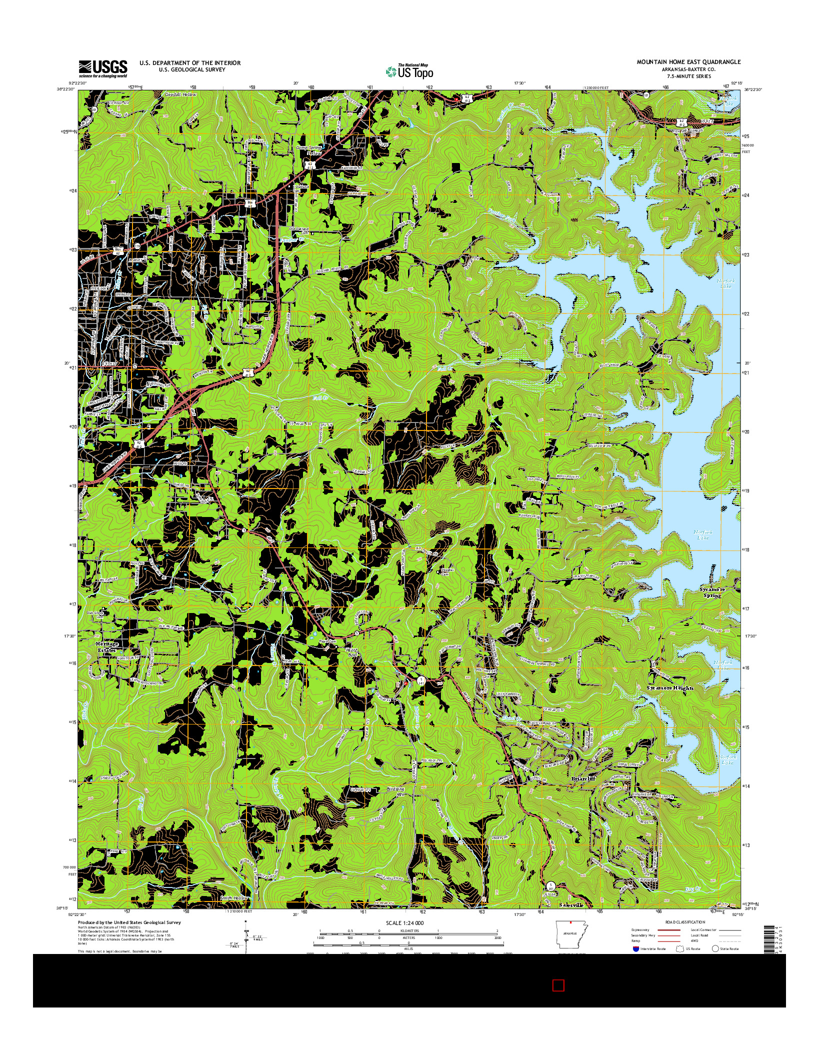 USGS US TOPO 7.5-MINUTE MAP FOR MOUNTAIN HOME EAST, AR 2014