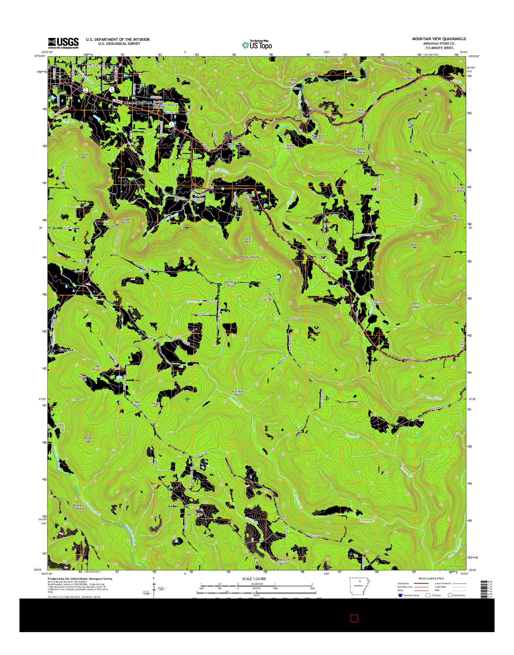 USGS US TOPO 7.5-MINUTE MAP FOR MOUNTAIN VIEW, AR 2014