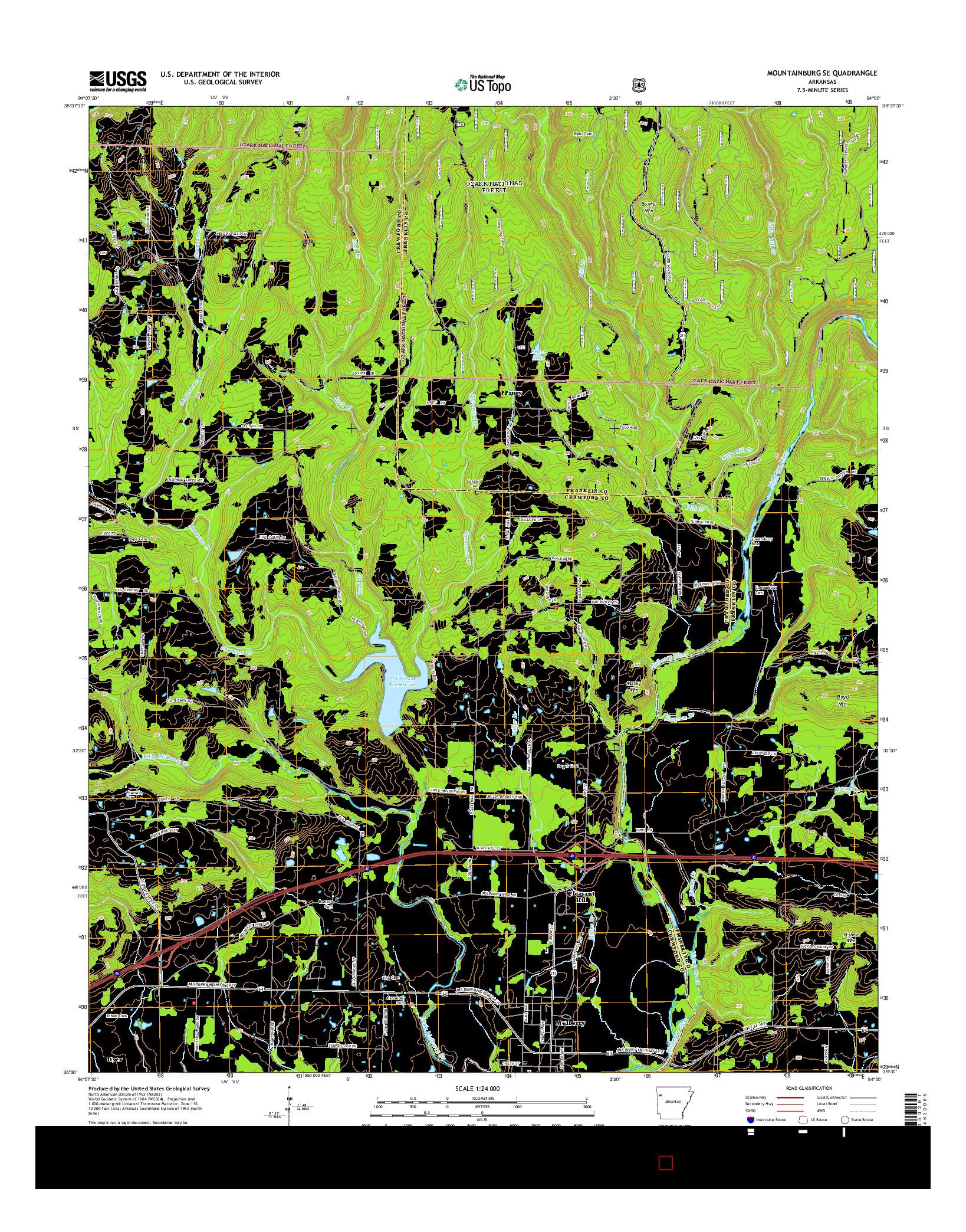 USGS US TOPO 7.5-MINUTE MAP FOR MOUNTAINBURG SE, AR 2014