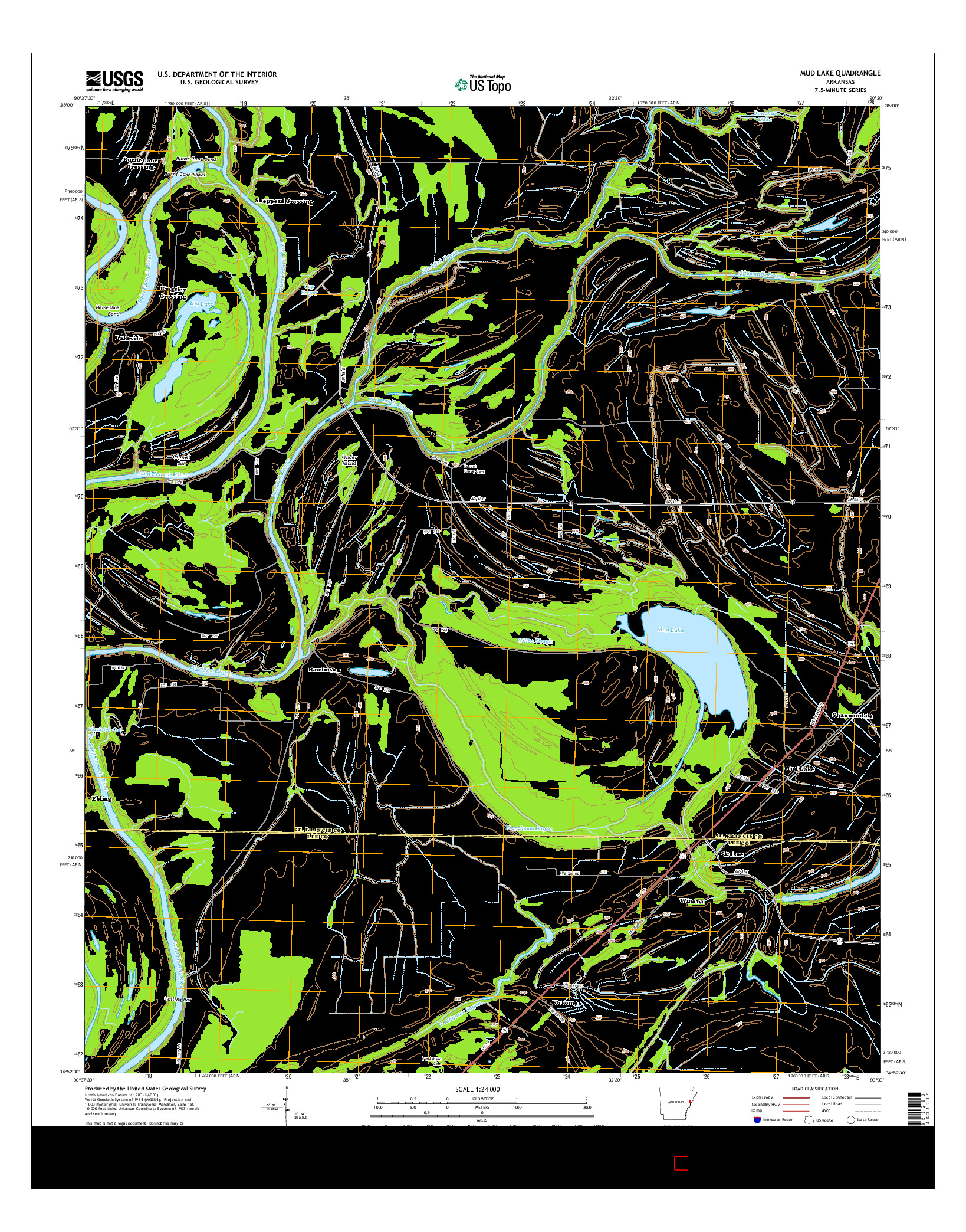 USGS US TOPO 7.5-MINUTE MAP FOR MUD LAKE, AR 2014