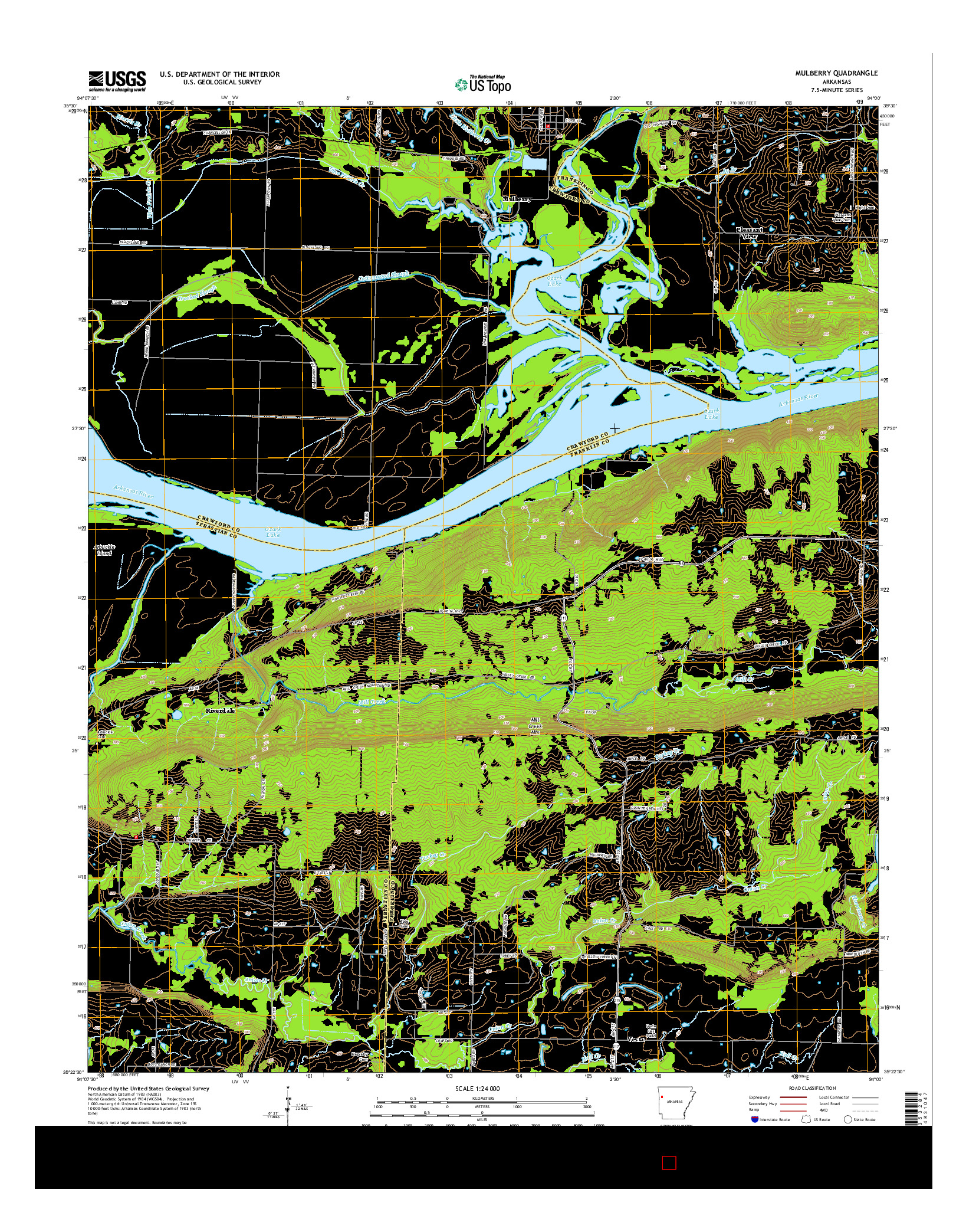 USGS US TOPO 7.5-MINUTE MAP FOR MULBERRY, AR 2014