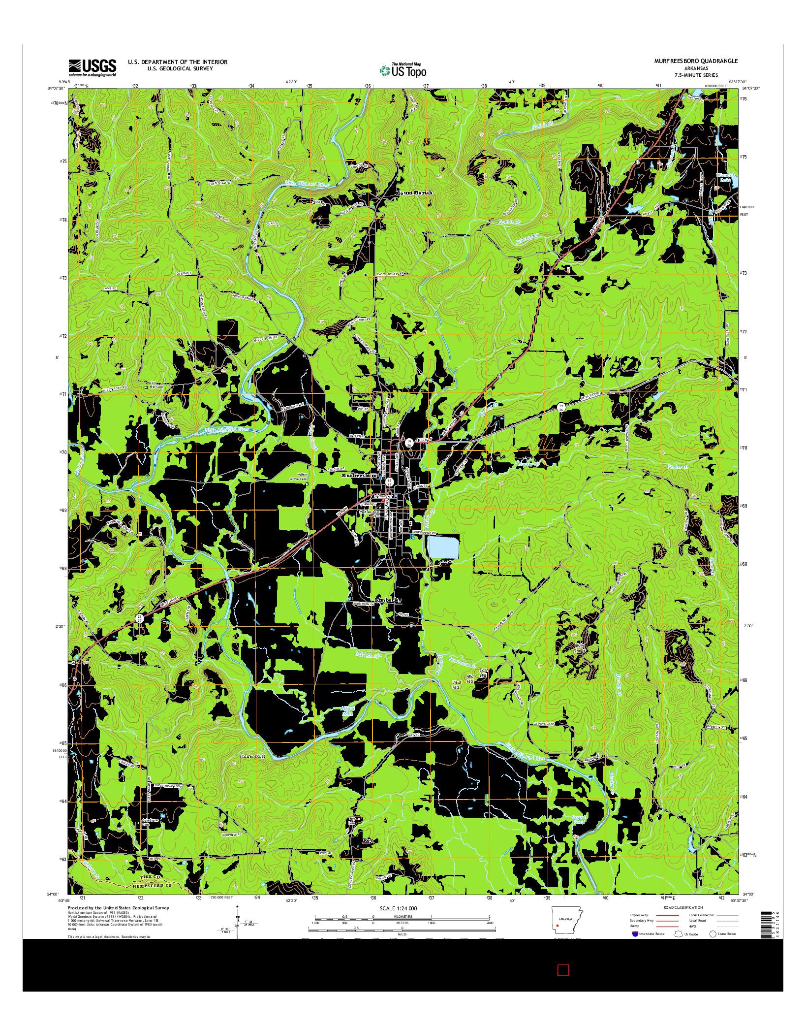 USGS US TOPO 7.5-MINUTE MAP FOR MURFREESBORO, AR 2014