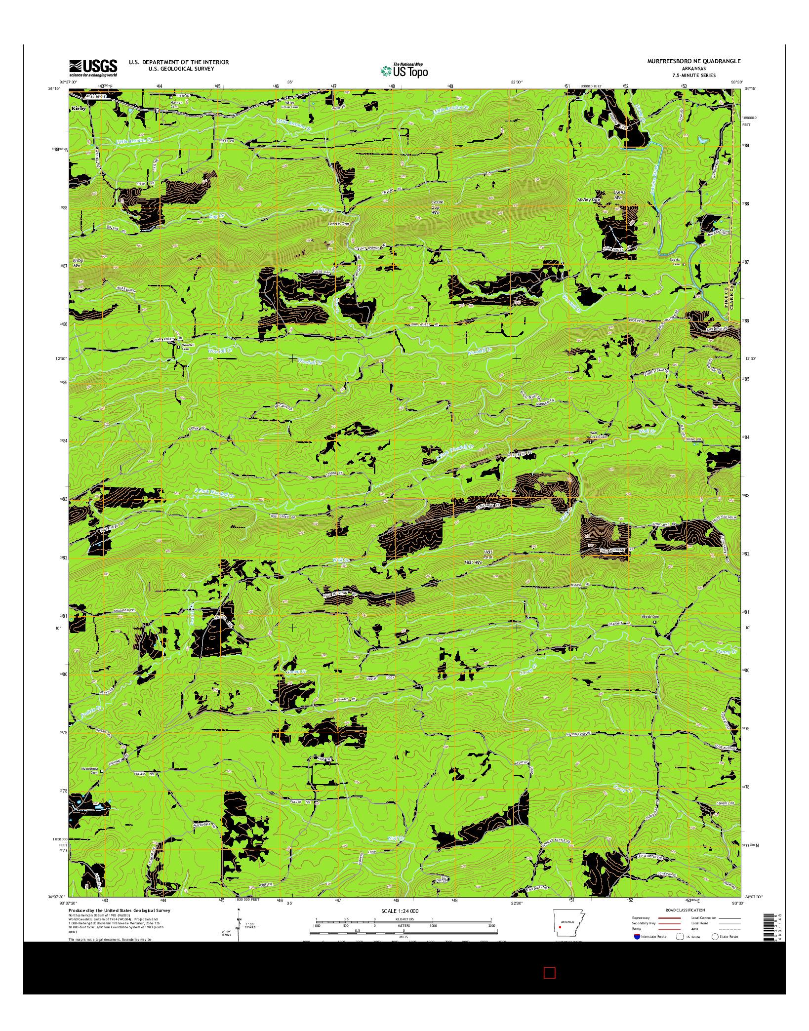 USGS US TOPO 7.5-MINUTE MAP FOR MURFREESBORO NE, AR 2014