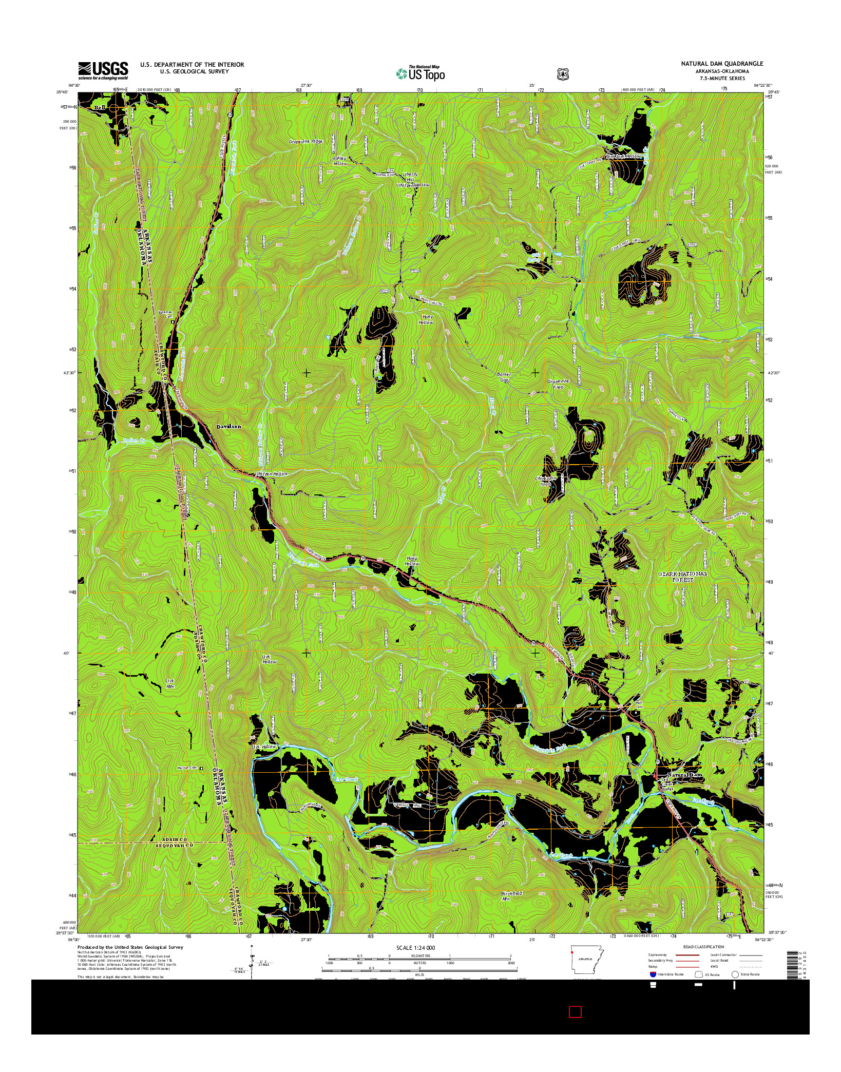 USGS US TOPO 7.5-MINUTE MAP FOR NATURAL DAM, AR-OK 2014
