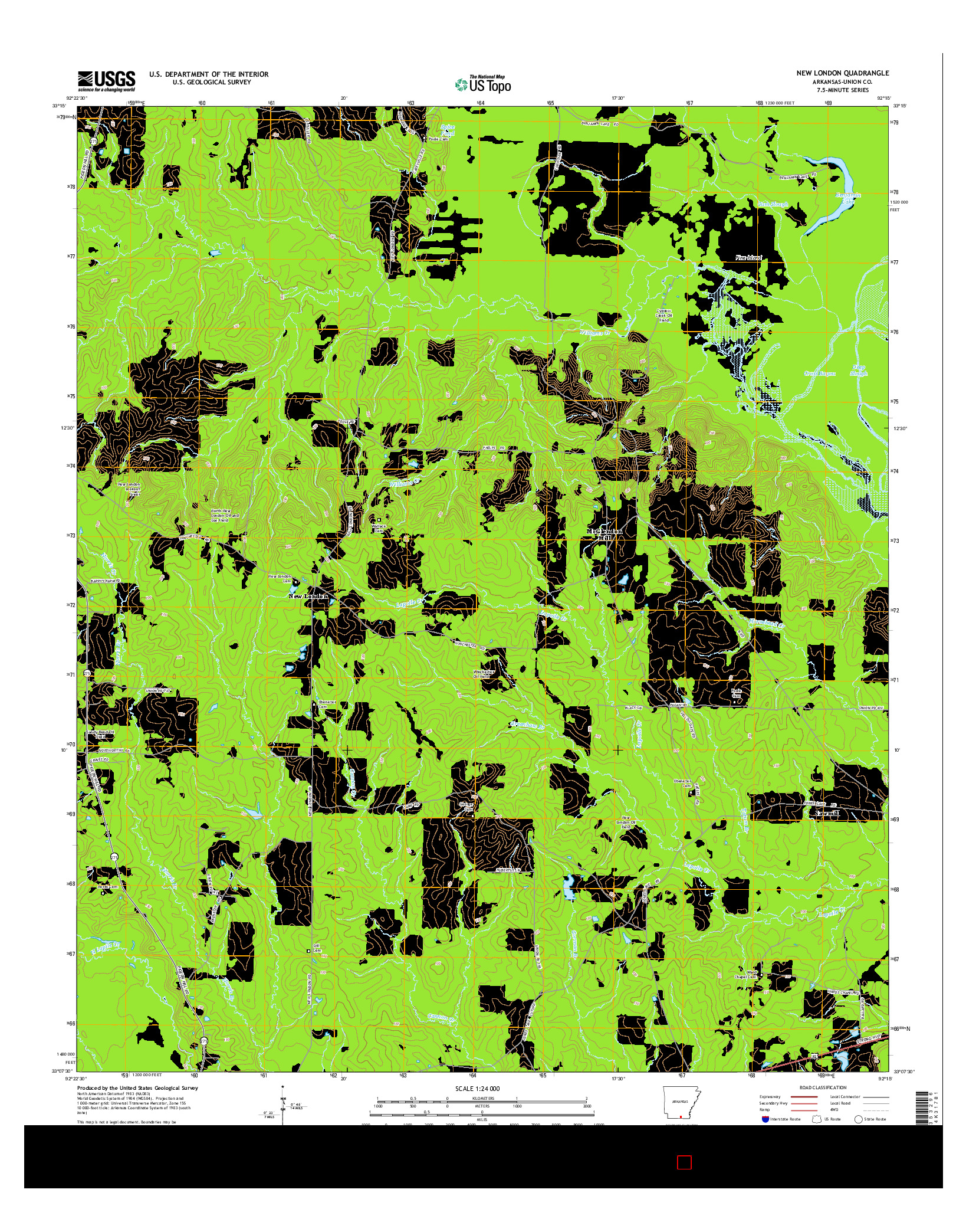 USGS US TOPO 7.5-MINUTE MAP FOR NEW LONDON, AR 2014