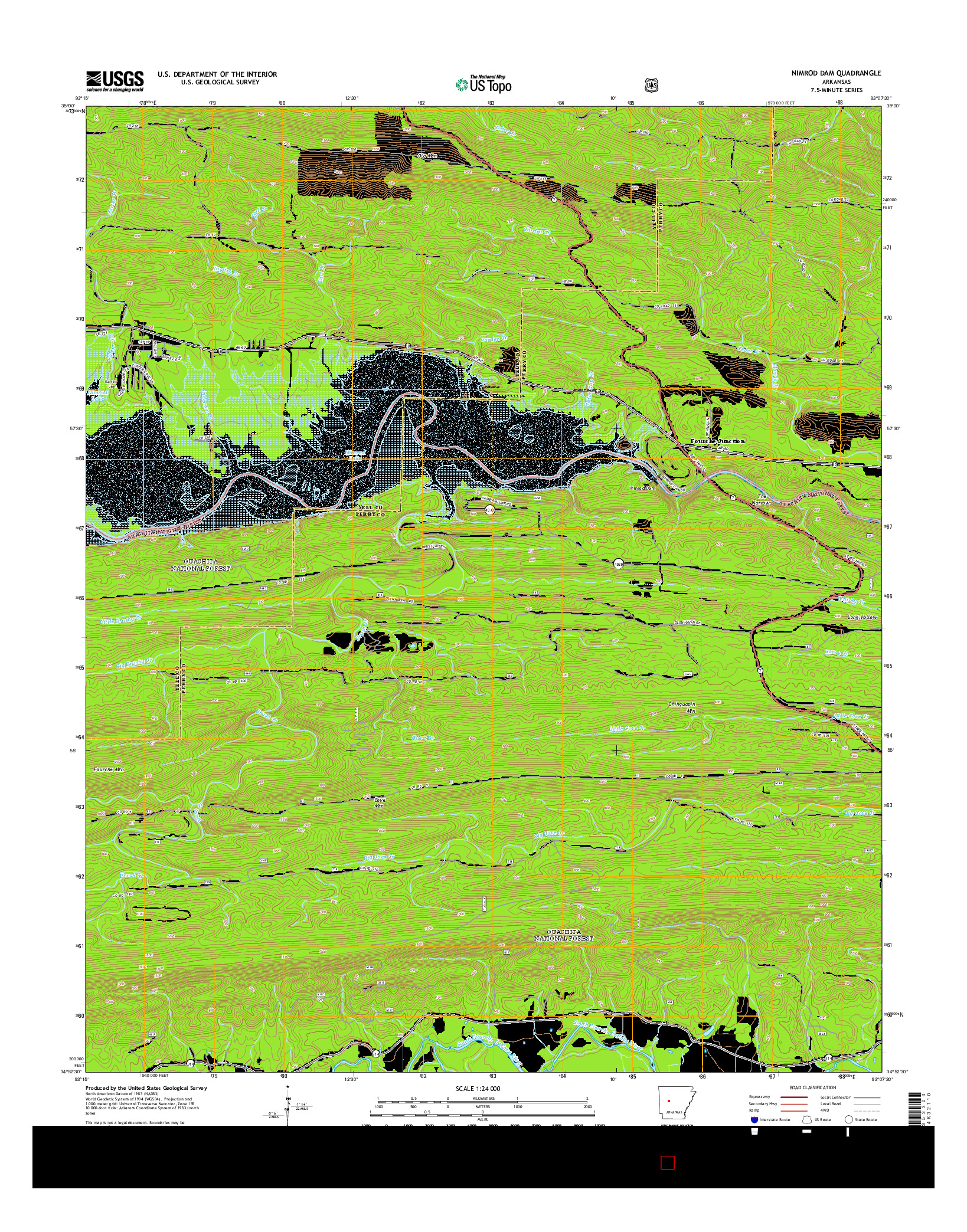 USGS US TOPO 7.5-MINUTE MAP FOR NIMROD DAM, AR 2014