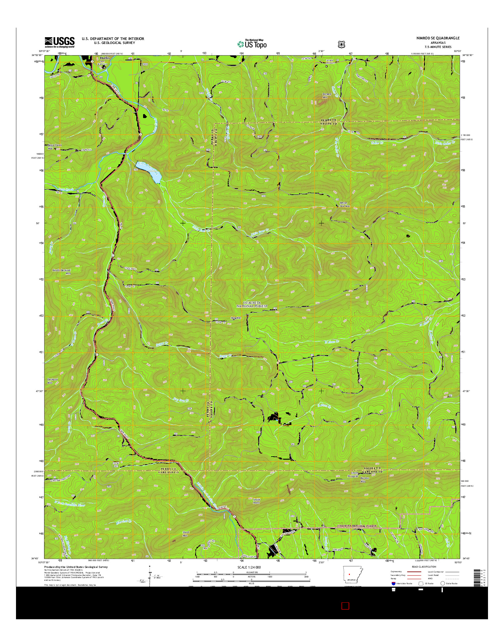 USGS US TOPO 7.5-MINUTE MAP FOR NIMROD SE, AR 2014