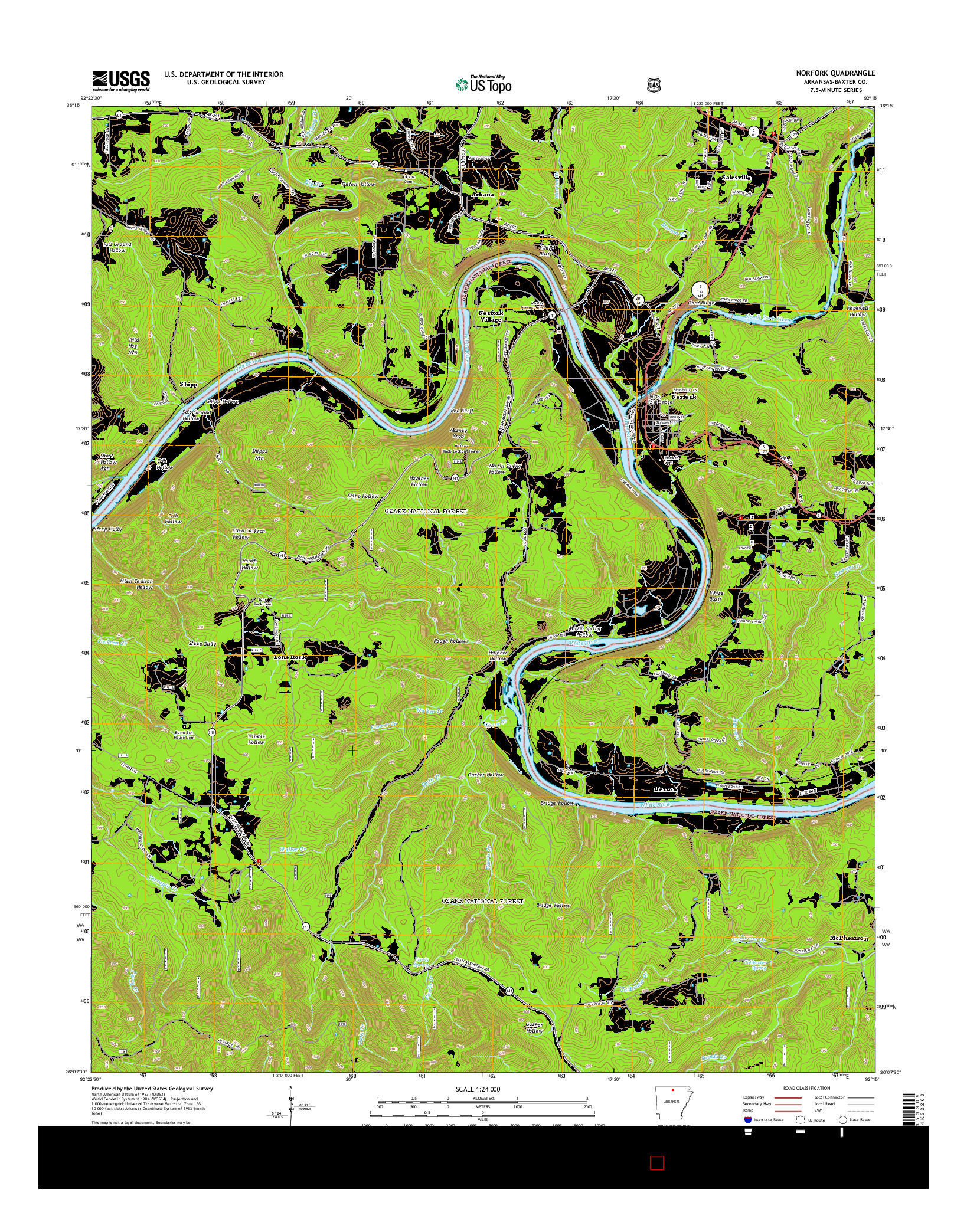 USGS US TOPO 7.5-MINUTE MAP FOR NORFORK, AR 2014