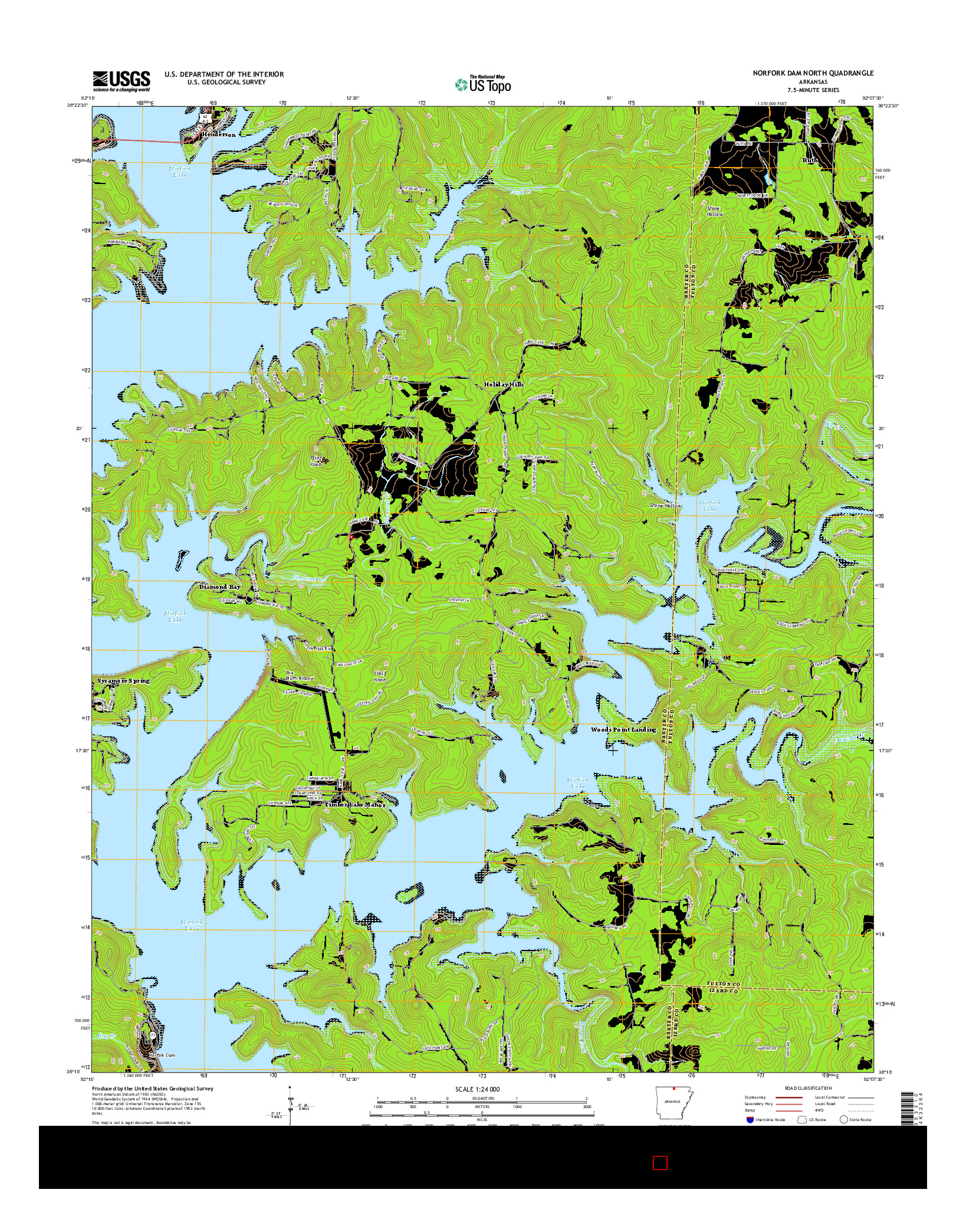 USGS US TOPO 7.5-MINUTE MAP FOR NORFORK DAM NORTH, AR 2014