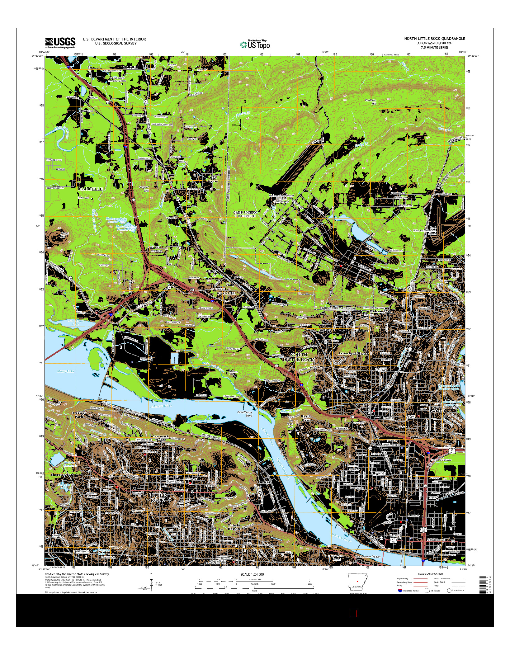 USGS US TOPO 7.5-MINUTE MAP FOR NORTH LITTLE ROCK, AR 2014