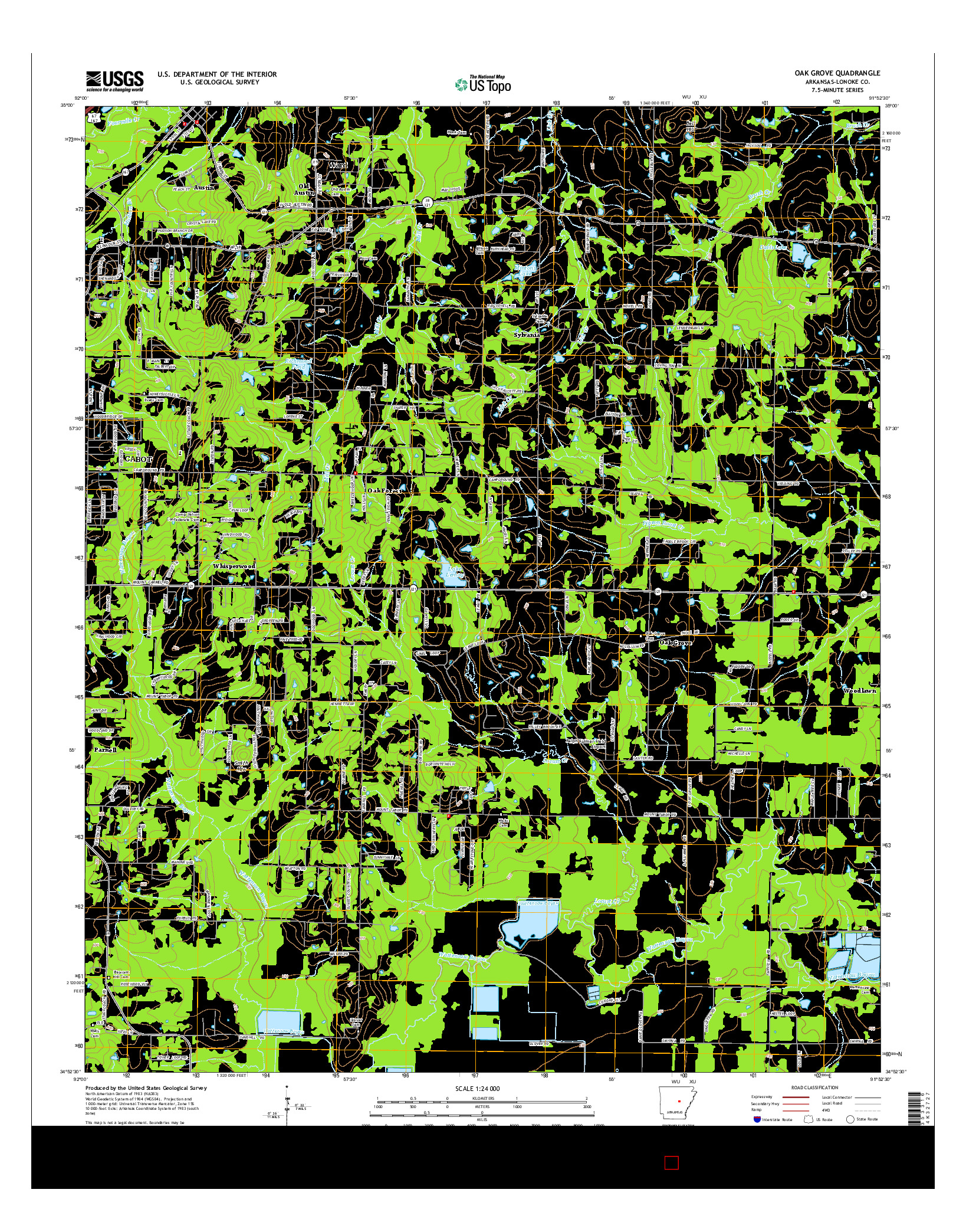 USGS US TOPO 7.5-MINUTE MAP FOR OAK GROVE, AR 2014