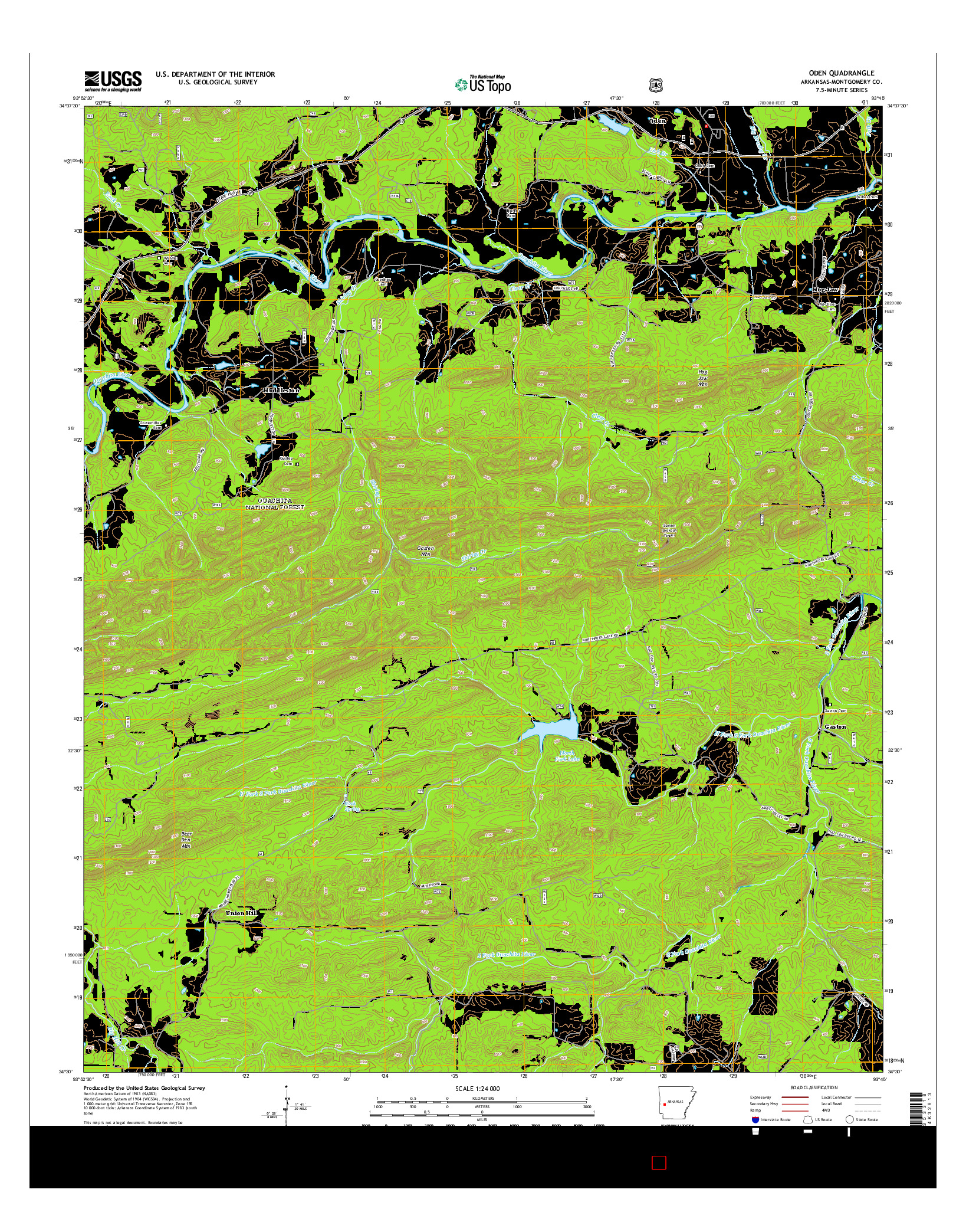 USGS US TOPO 7.5-MINUTE MAP FOR ODEN, AR 2014