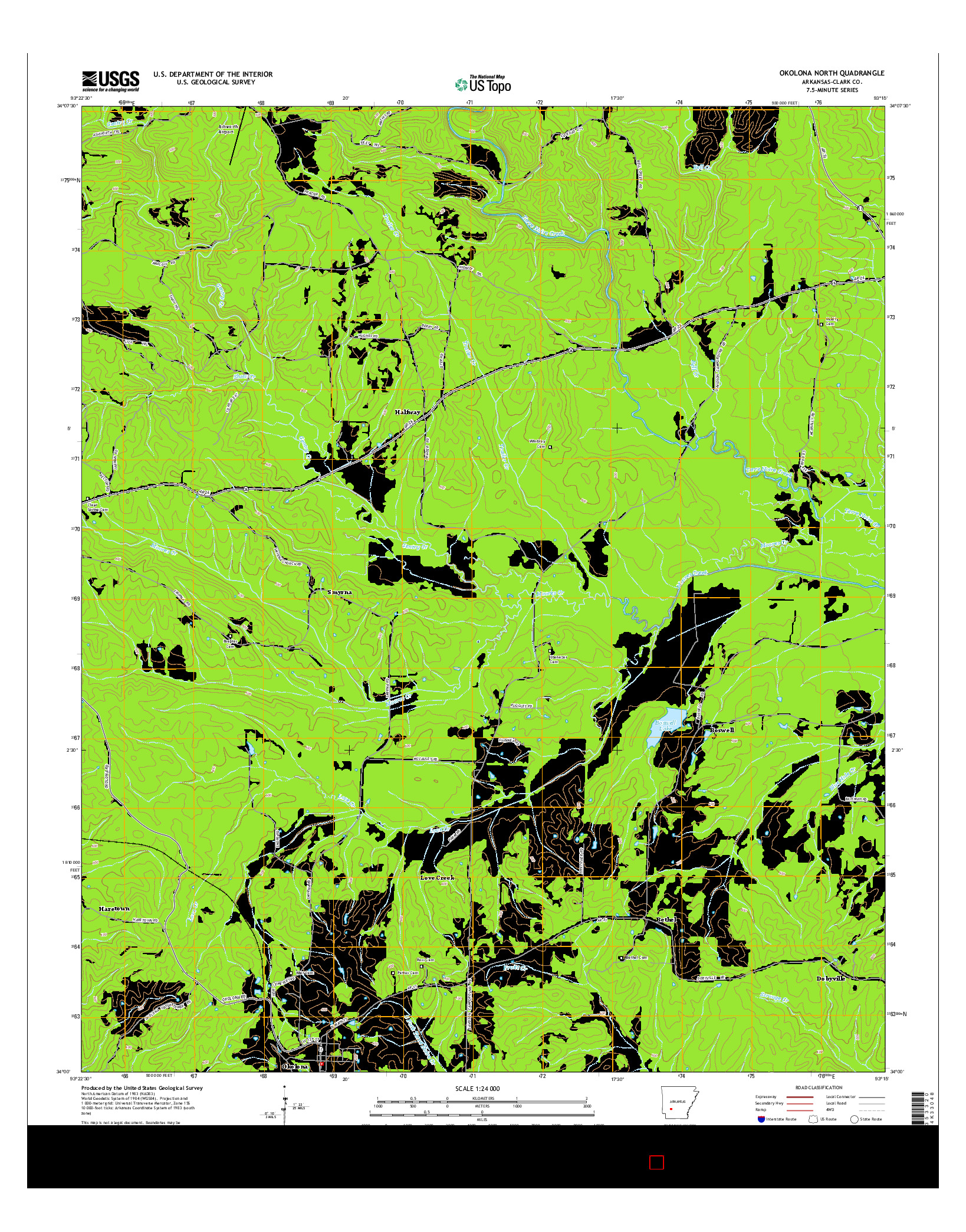USGS US TOPO 7.5-MINUTE MAP FOR OKOLONA NORTH, AR 2014