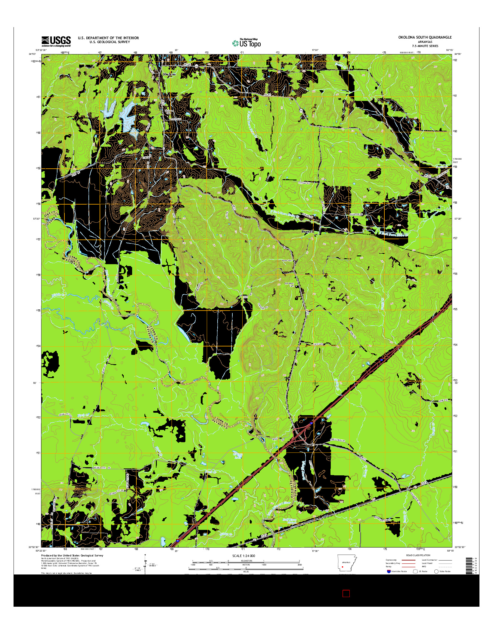 USGS US TOPO 7.5-MINUTE MAP FOR OKOLONA SOUTH, AR 2014
