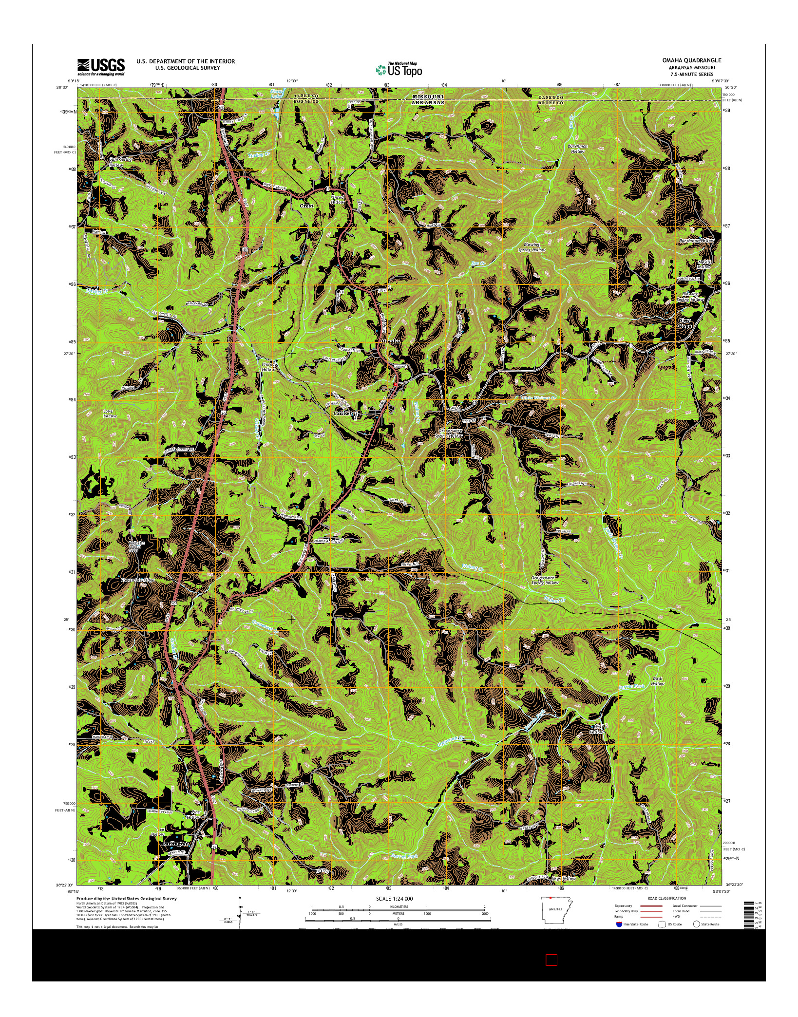 USGS US TOPO 7.5-MINUTE MAP FOR OMAHA, AR-MO 2014