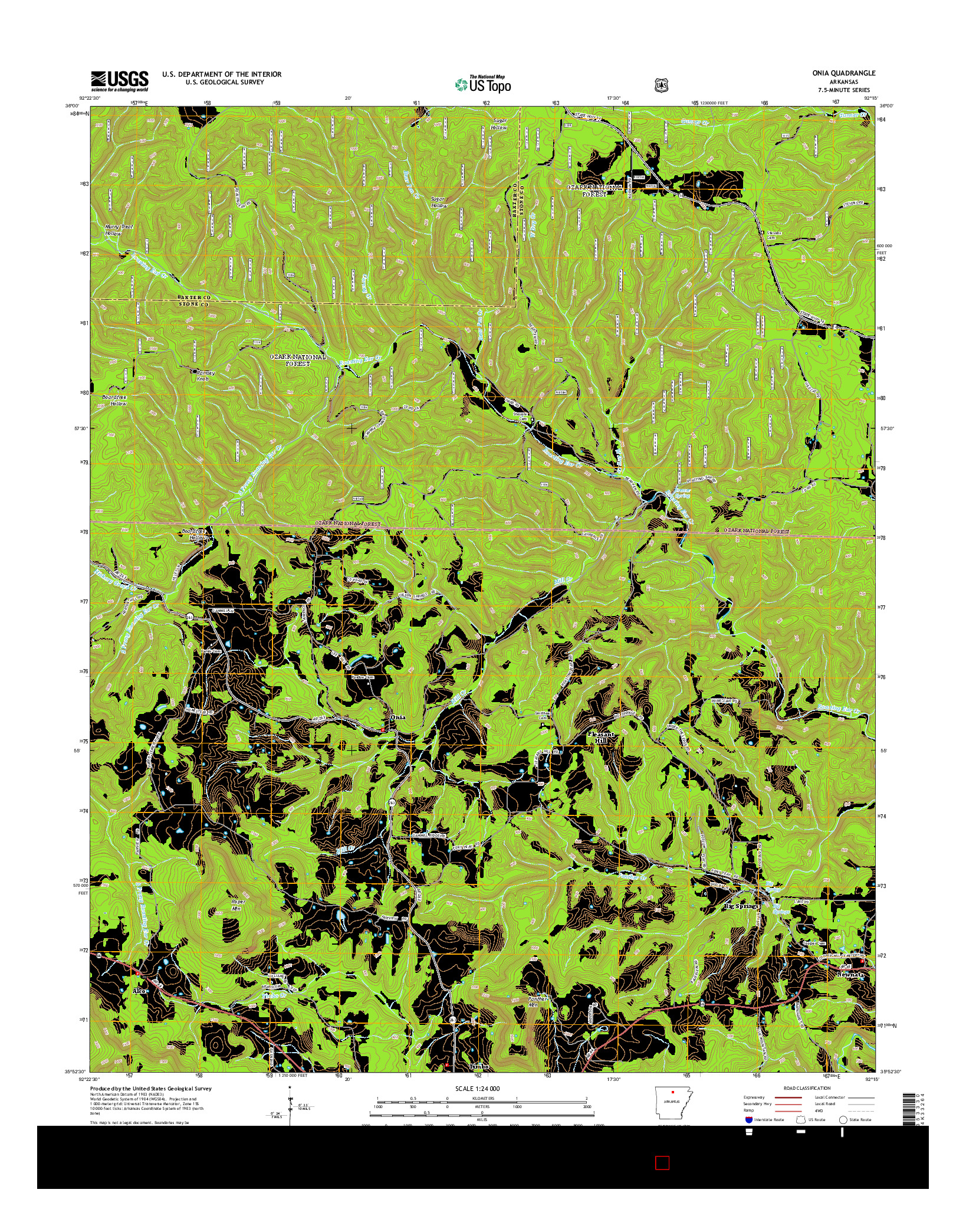 USGS US TOPO 7.5-MINUTE MAP FOR ONIA, AR 2014