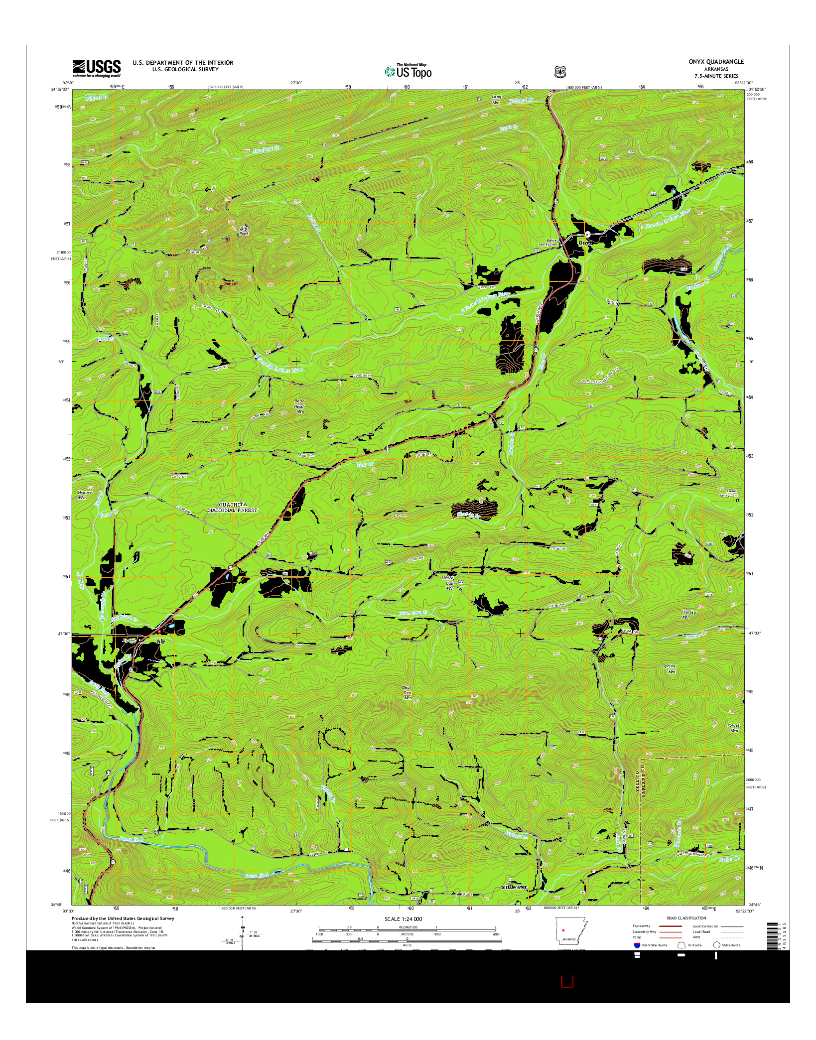 USGS US TOPO 7.5-MINUTE MAP FOR ONYX, AR 2014