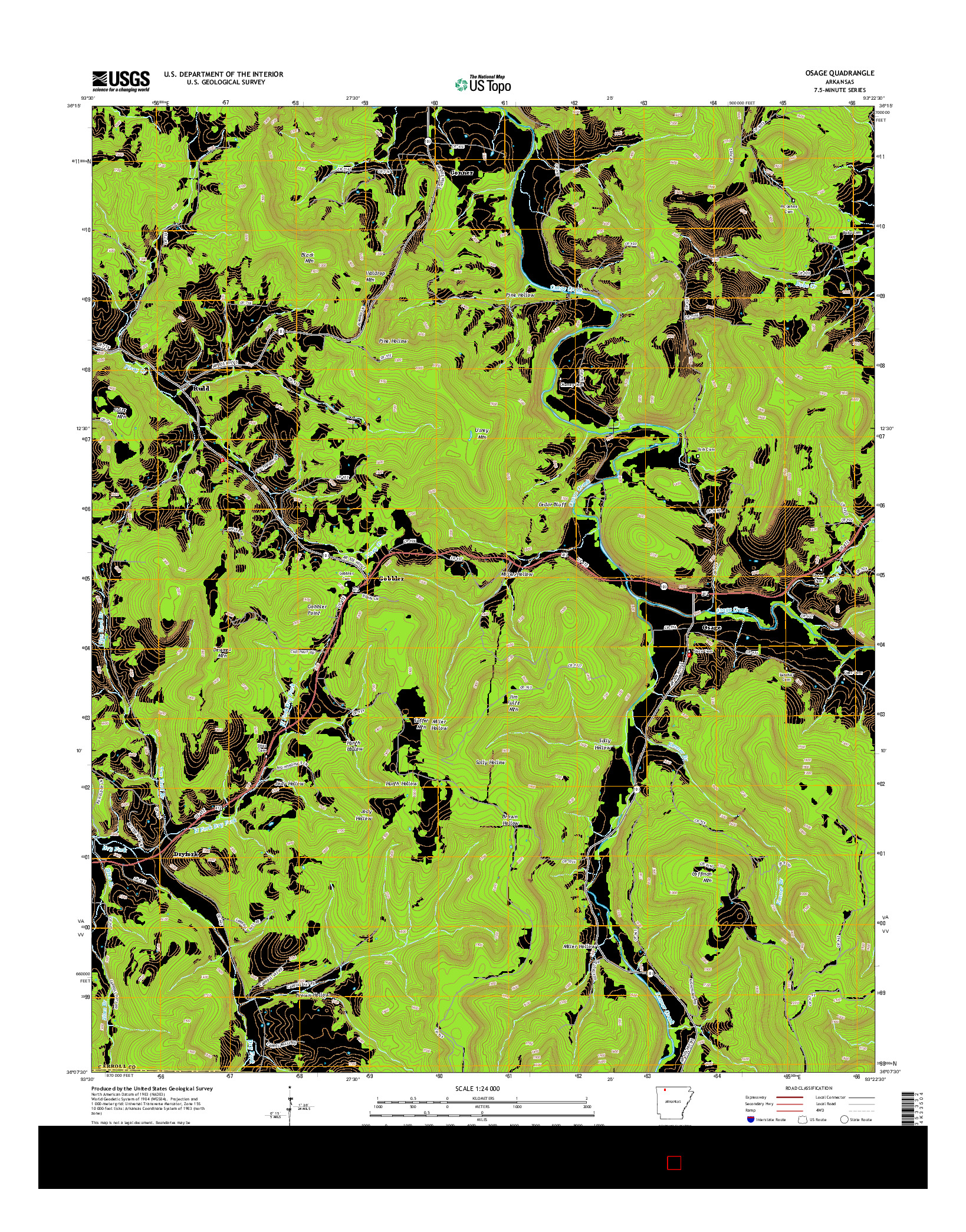 USGS US TOPO 7.5-MINUTE MAP FOR OSAGE, AR 2014