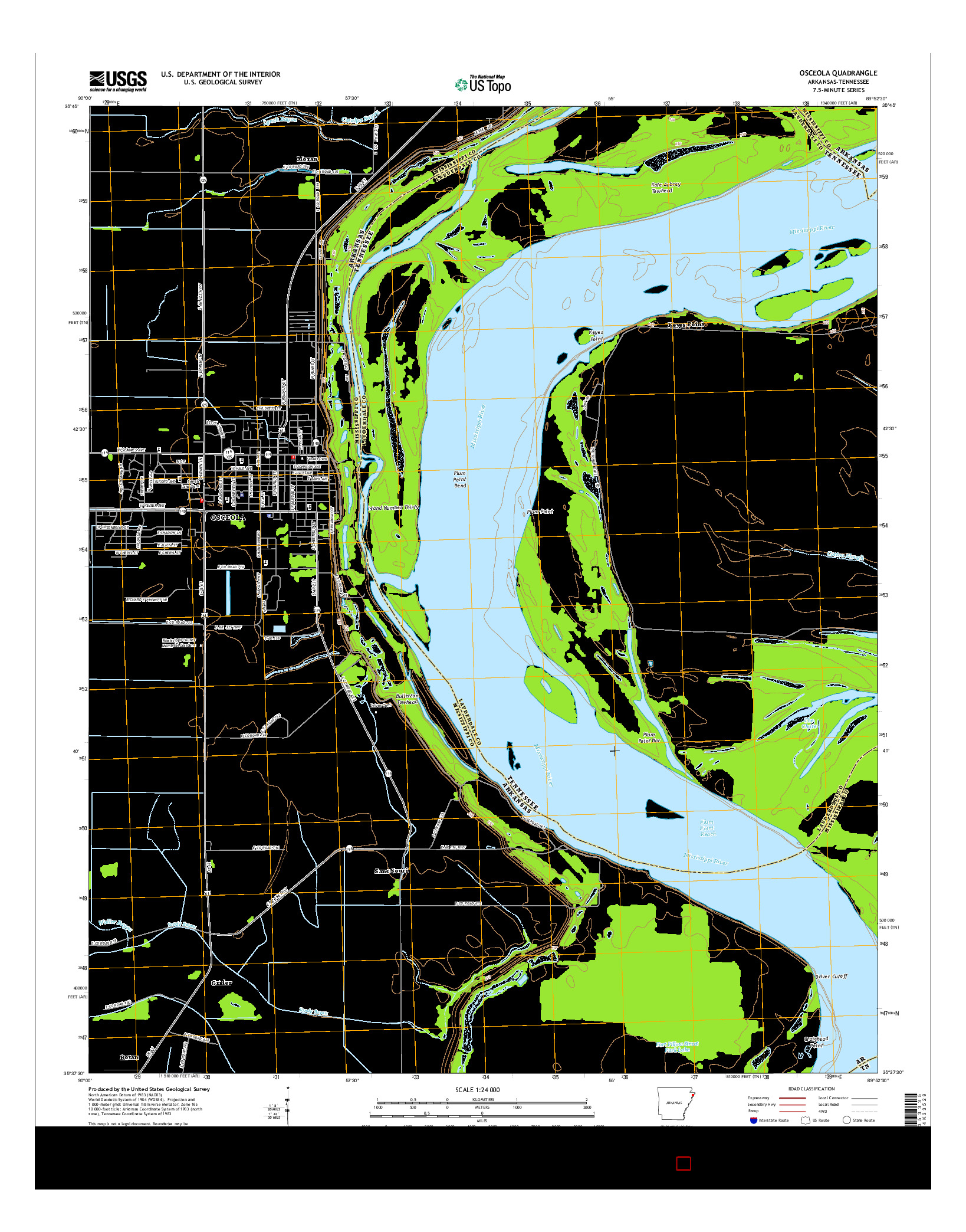 USGS US TOPO 7.5-MINUTE MAP FOR OSCEOLA, AR-TN 2014
