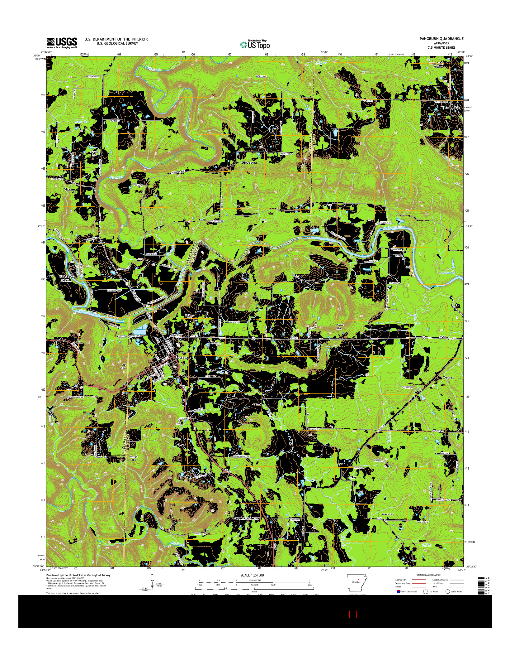 USGS US TOPO 7.5-MINUTE MAP FOR PANGBURN, AR 2014