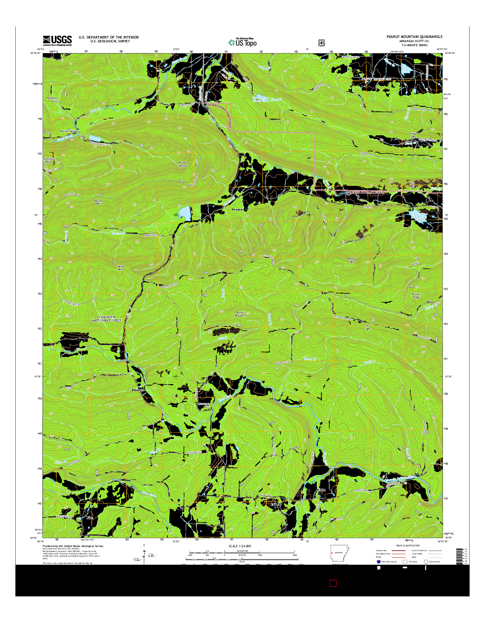 USGS US TOPO 7.5-MINUTE MAP FOR PEANUT MOUNTAIN, AR 2014
