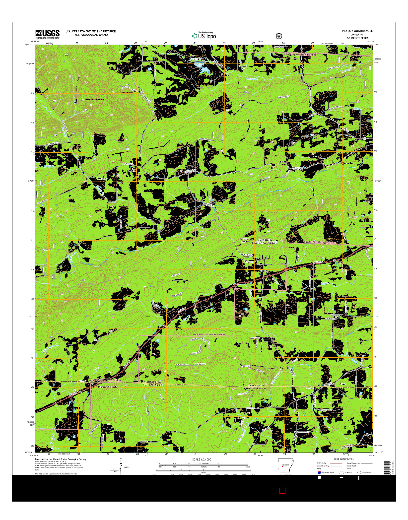 USGS US TOPO 7.5-MINUTE MAP FOR PEARCY, AR 2014