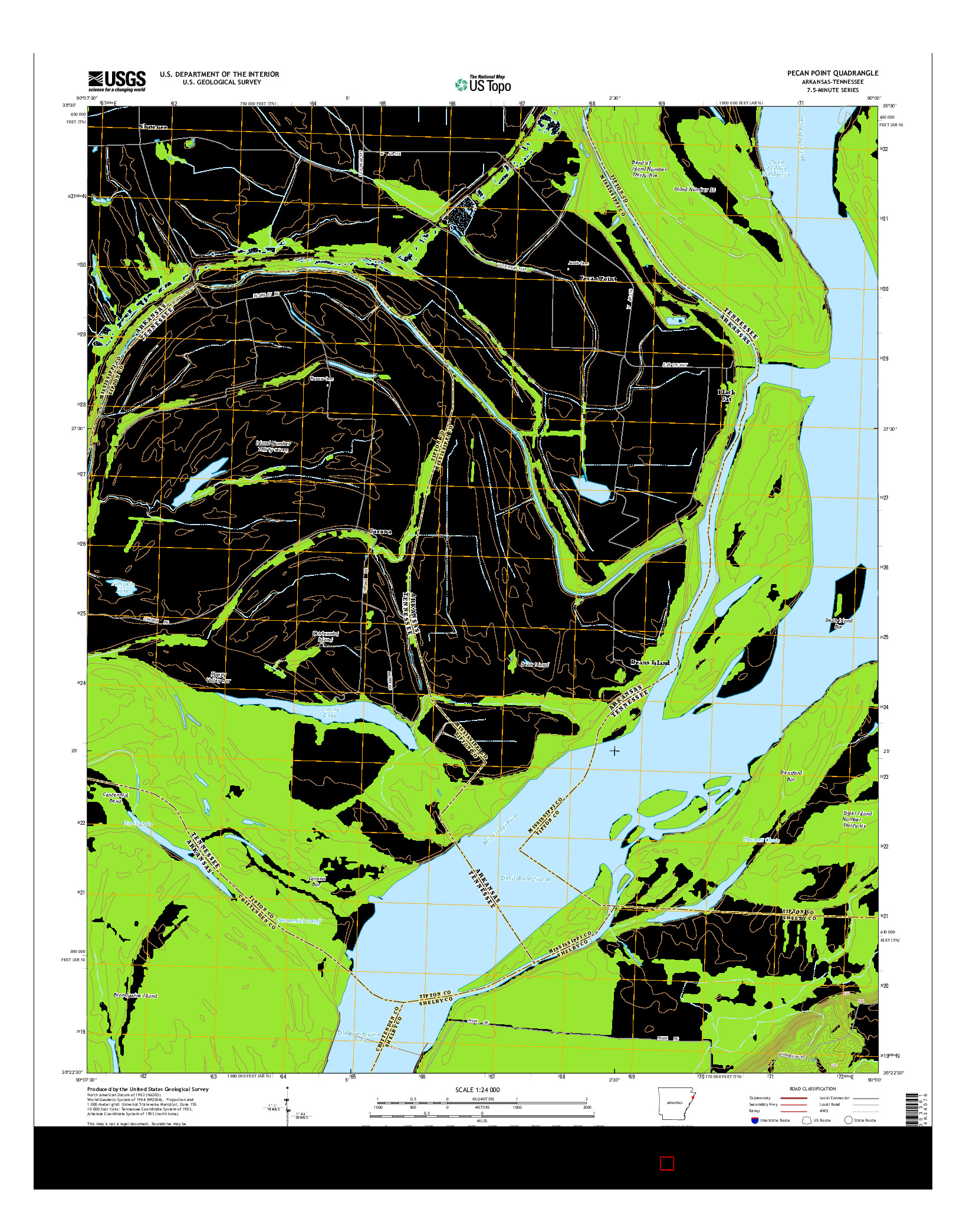 USGS US TOPO 7.5-MINUTE MAP FOR PECAN POINT, AR-TN 2014
