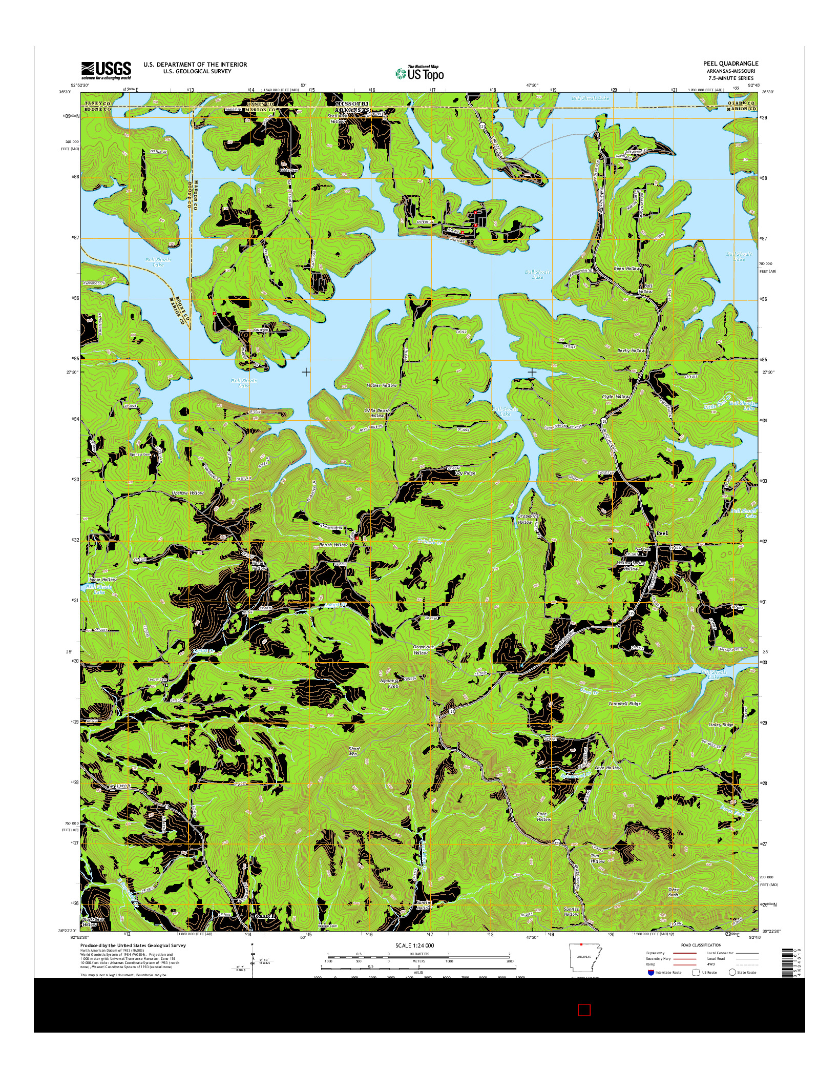 USGS US TOPO 7.5-MINUTE MAP FOR PEEL, AR-MO 2014
