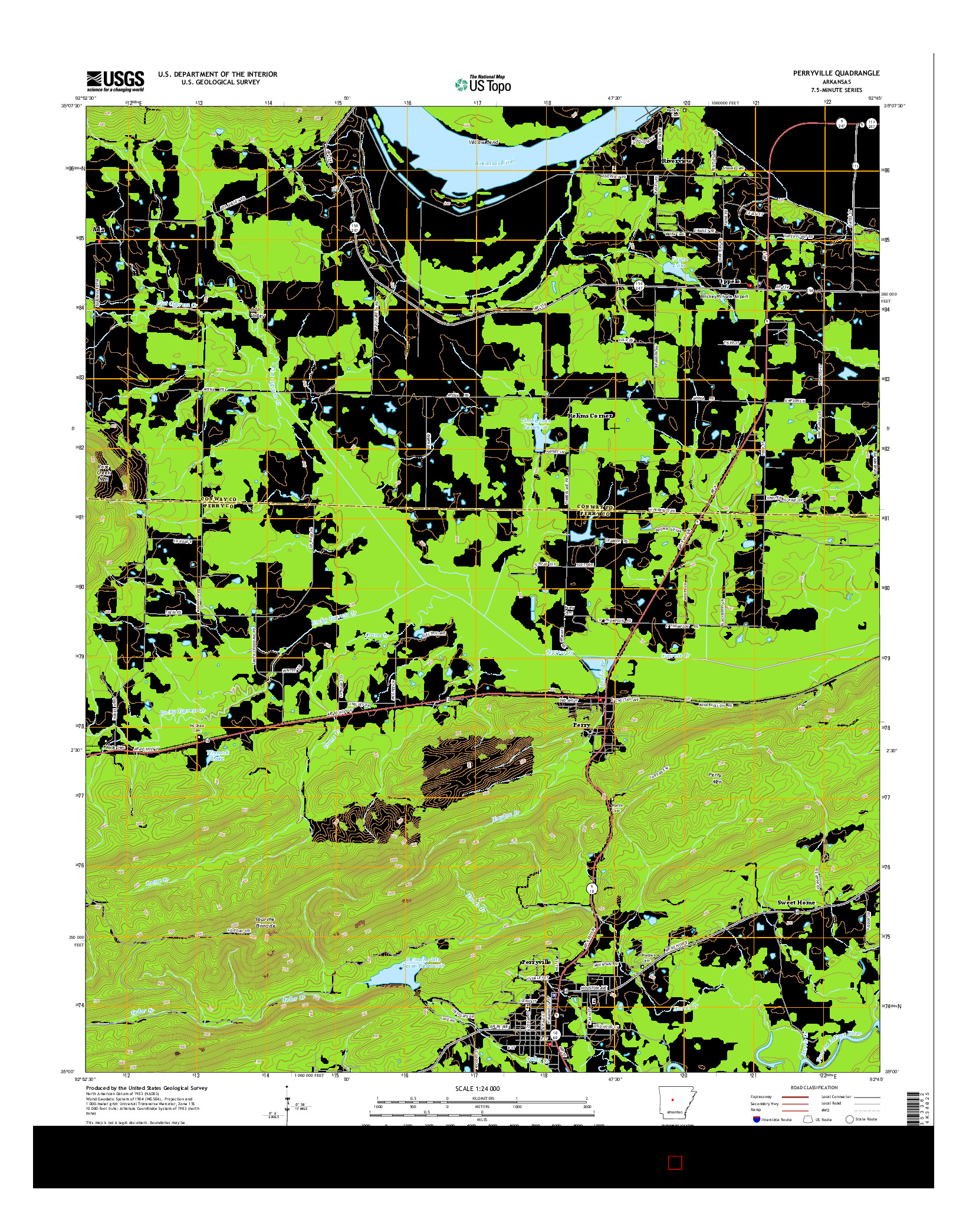 USGS US TOPO 7.5-MINUTE MAP FOR PERRYVILLE, AR 2014