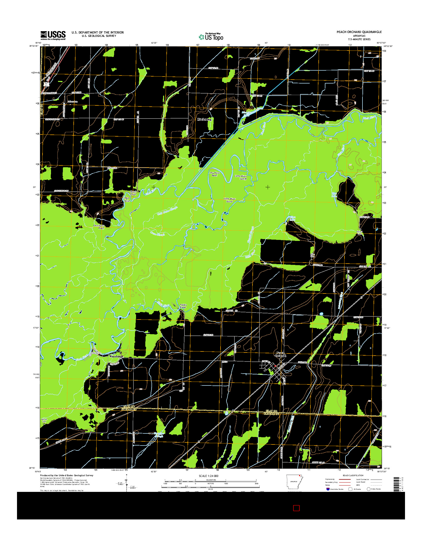 USGS US TOPO 7.5-MINUTE MAP FOR PEACH ORCHARD, AR 2014
