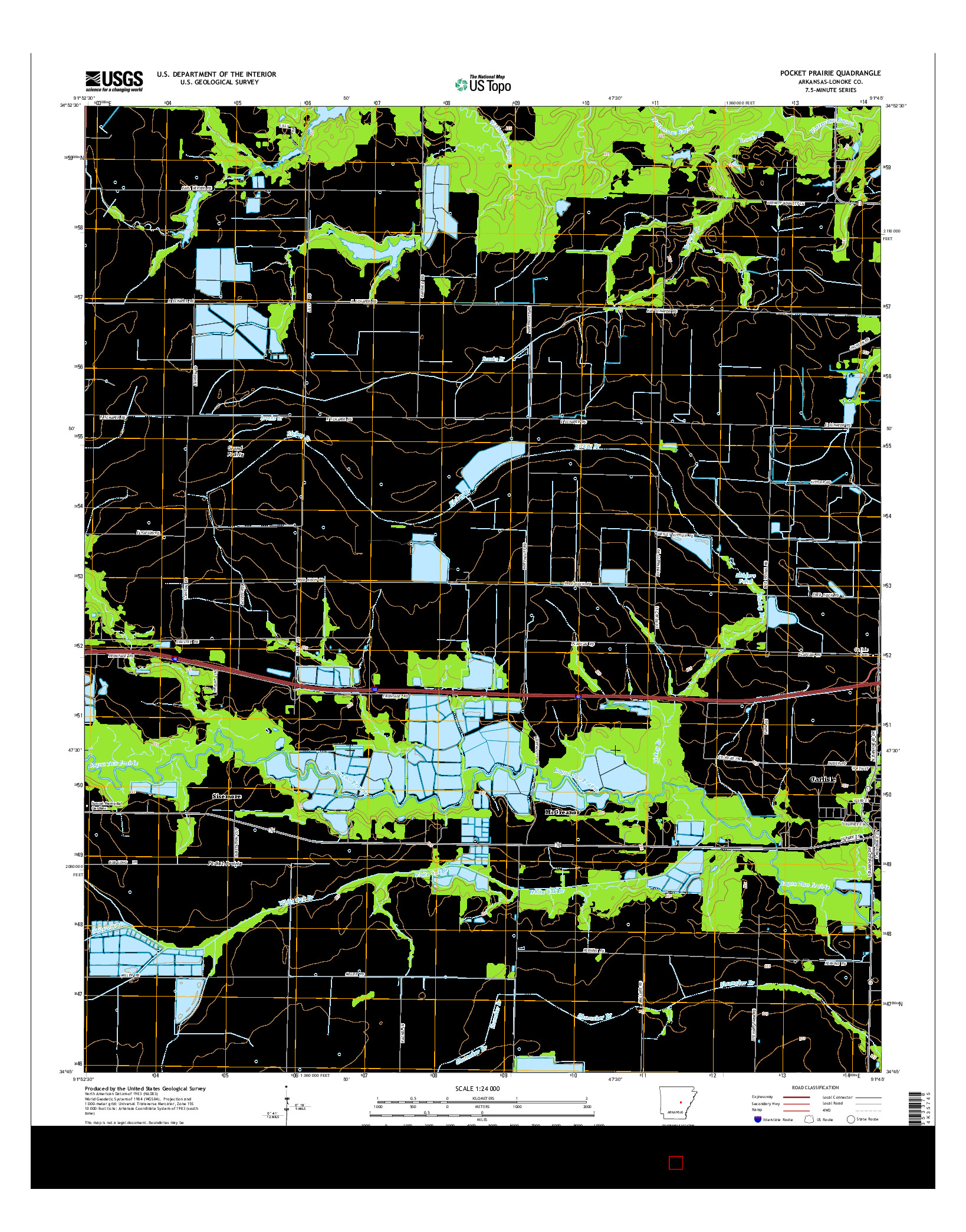 USGS US TOPO 7.5-MINUTE MAP FOR POCKET PRAIRIE, AR 2014