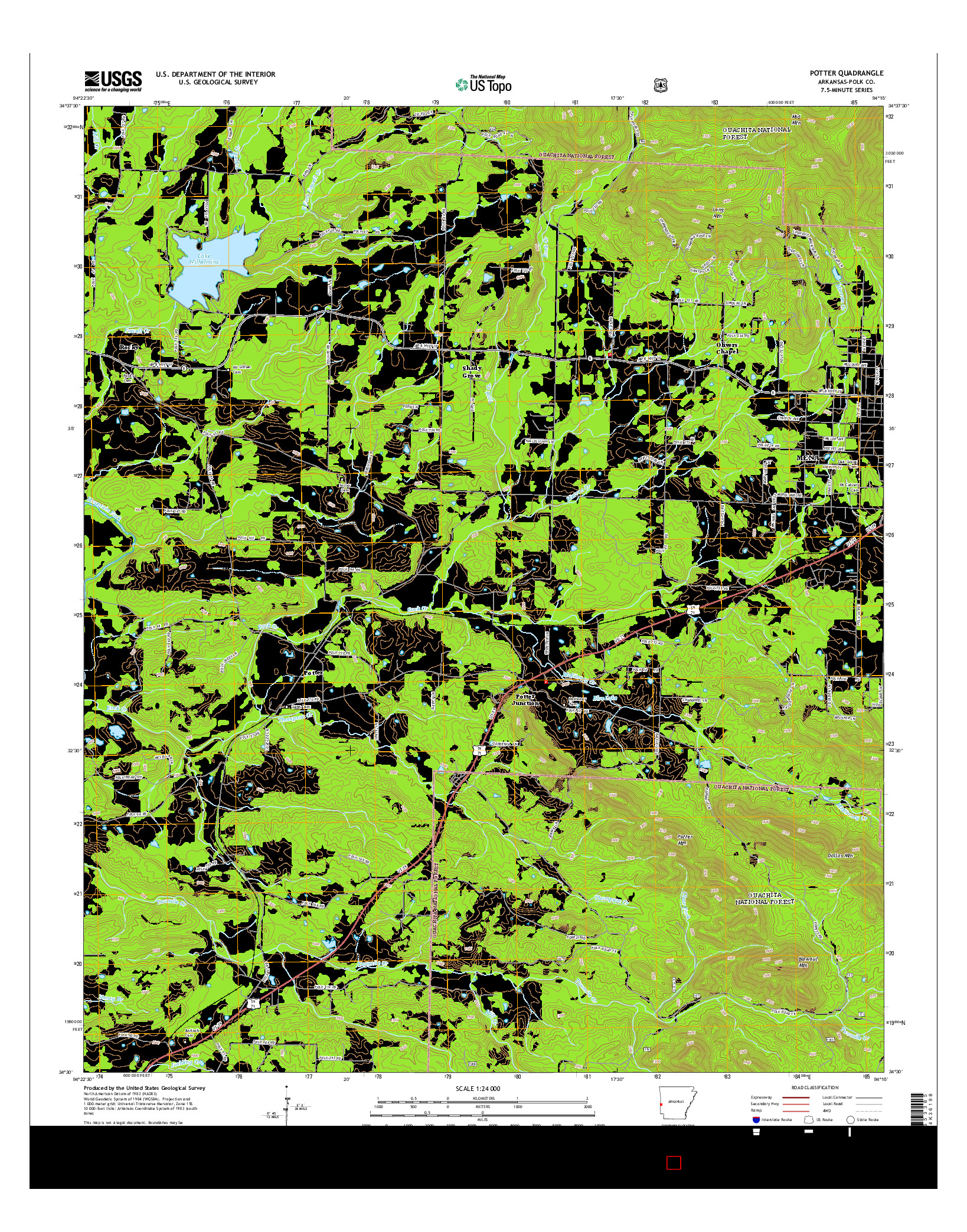 USGS US TOPO 7.5-MINUTE MAP FOR POTTER, AR 2014
