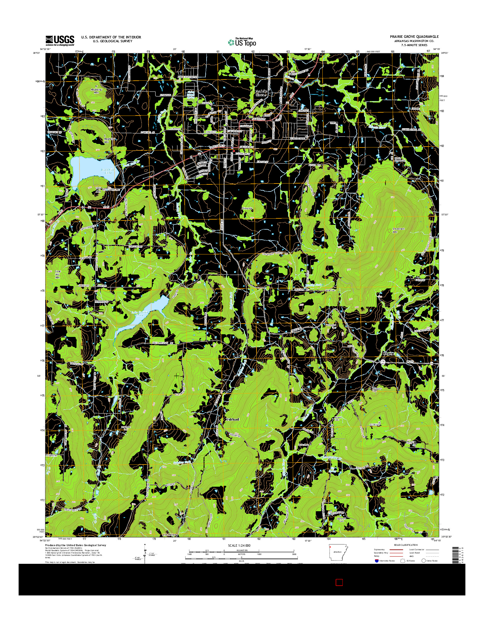 USGS US TOPO 7.5-MINUTE MAP FOR PRAIRIE GROVE, AR 2014