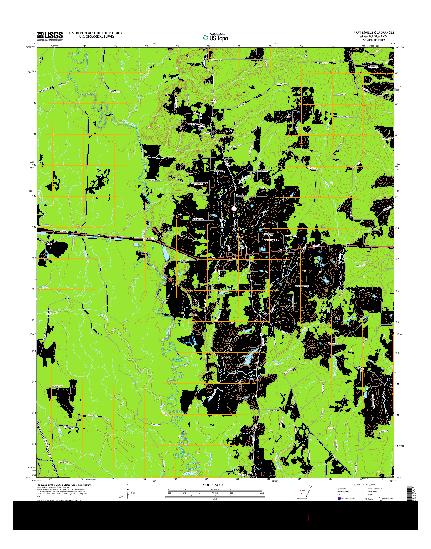 USGS US TOPO 7.5-MINUTE MAP FOR PRATTSVILLE, AR 2014