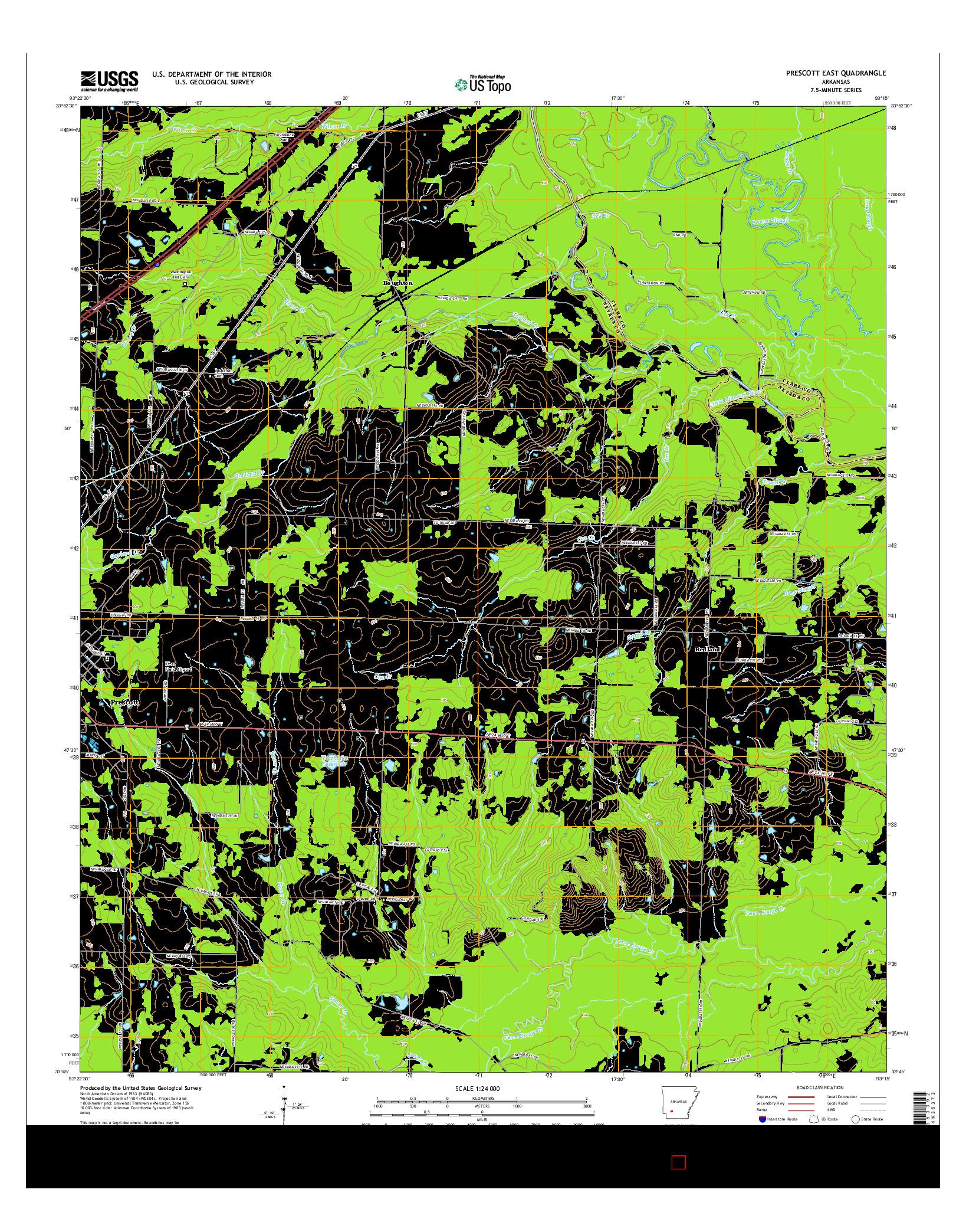 USGS US TOPO 7.5-MINUTE MAP FOR PRESCOTT EAST, AR 2014